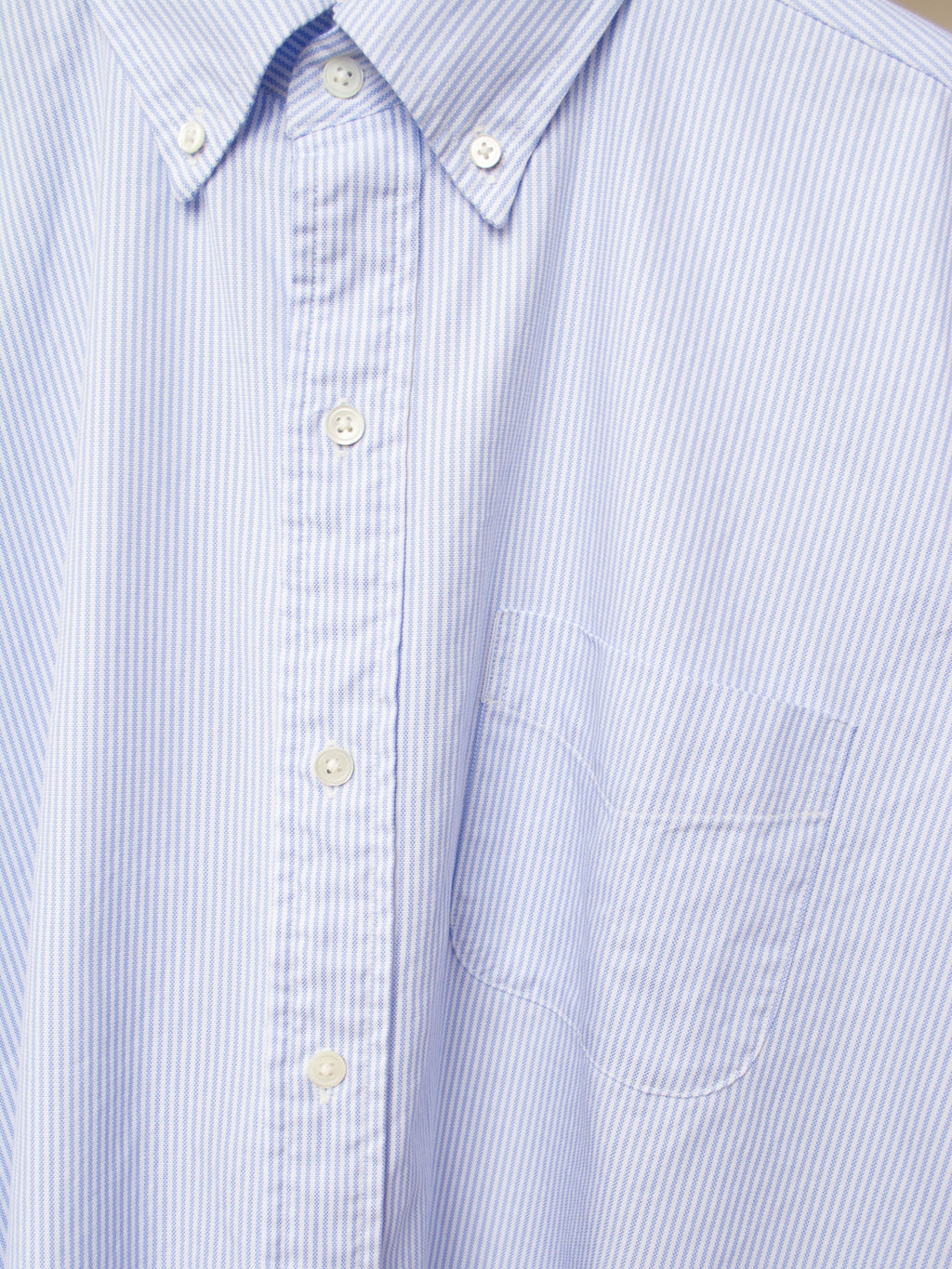 Namu Shop - Kaptain Sunshine Polo Collar Finx Shuttle Oxford Shirt - Blue Candy Stripe