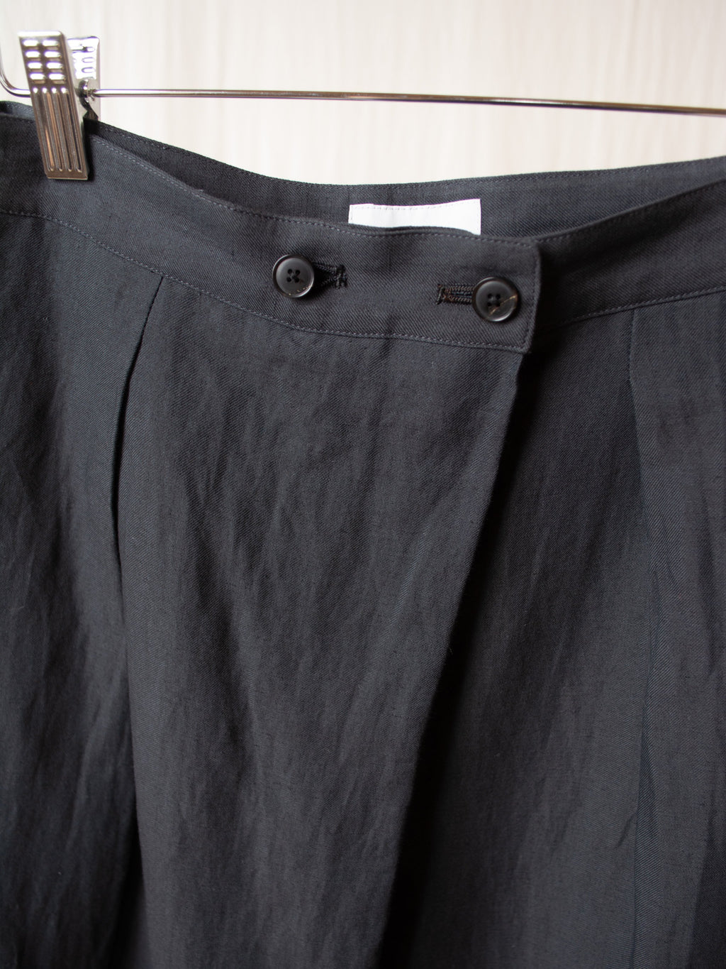 Namu Shop - Phlannel Linen Cotton Wool Twill Wide Trousers - Charcoal Black