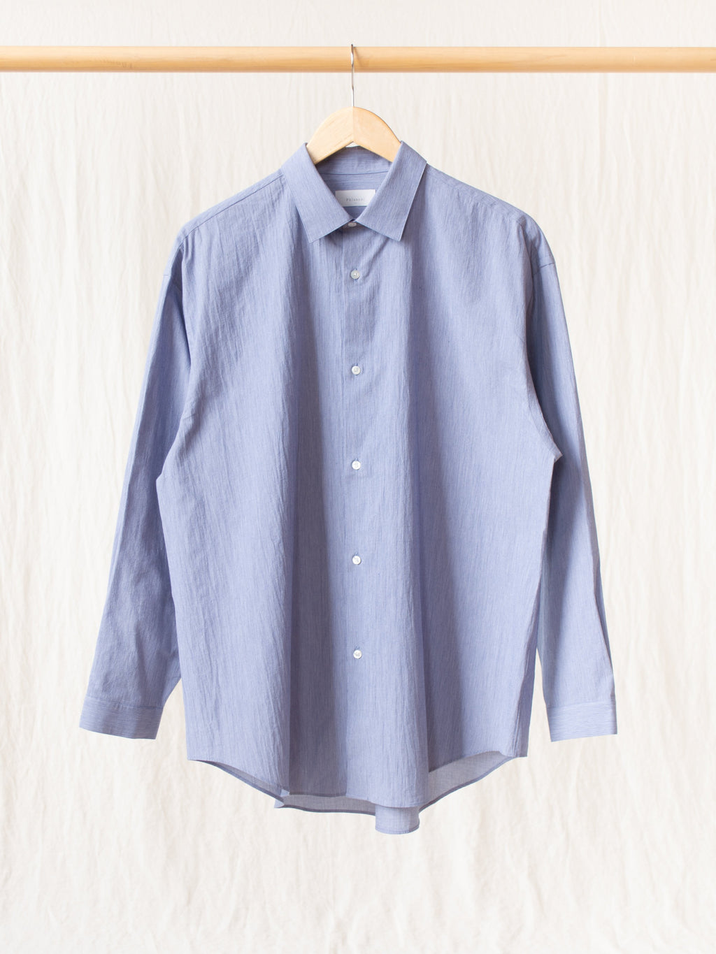 Cotton Voile Yarn Oversized Shirt - Blue