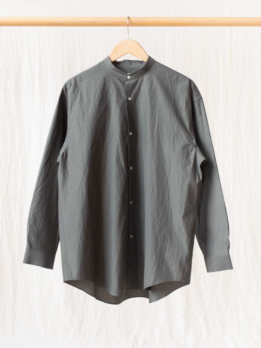 Cotton Silk Oversized Band Collar Shirt