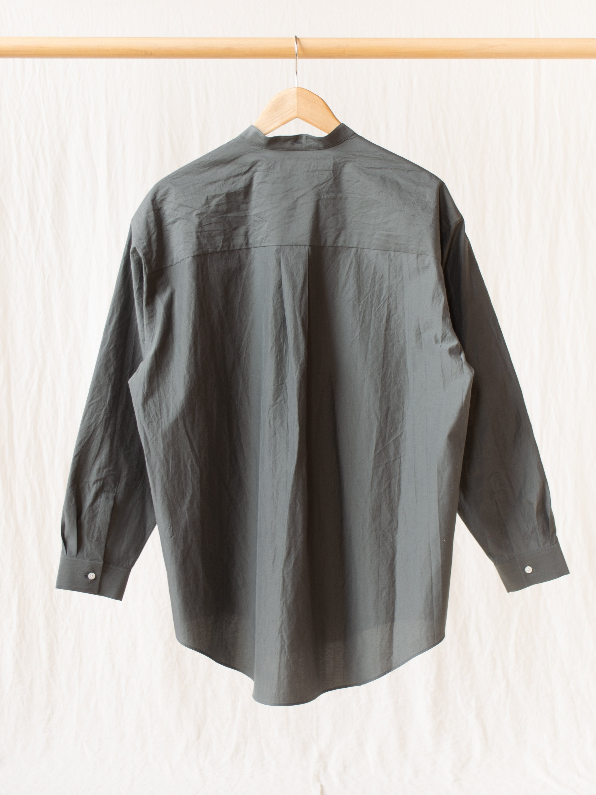 Namu Shop - Phlannel Cotton Silk Oversized Band Collar Shirt