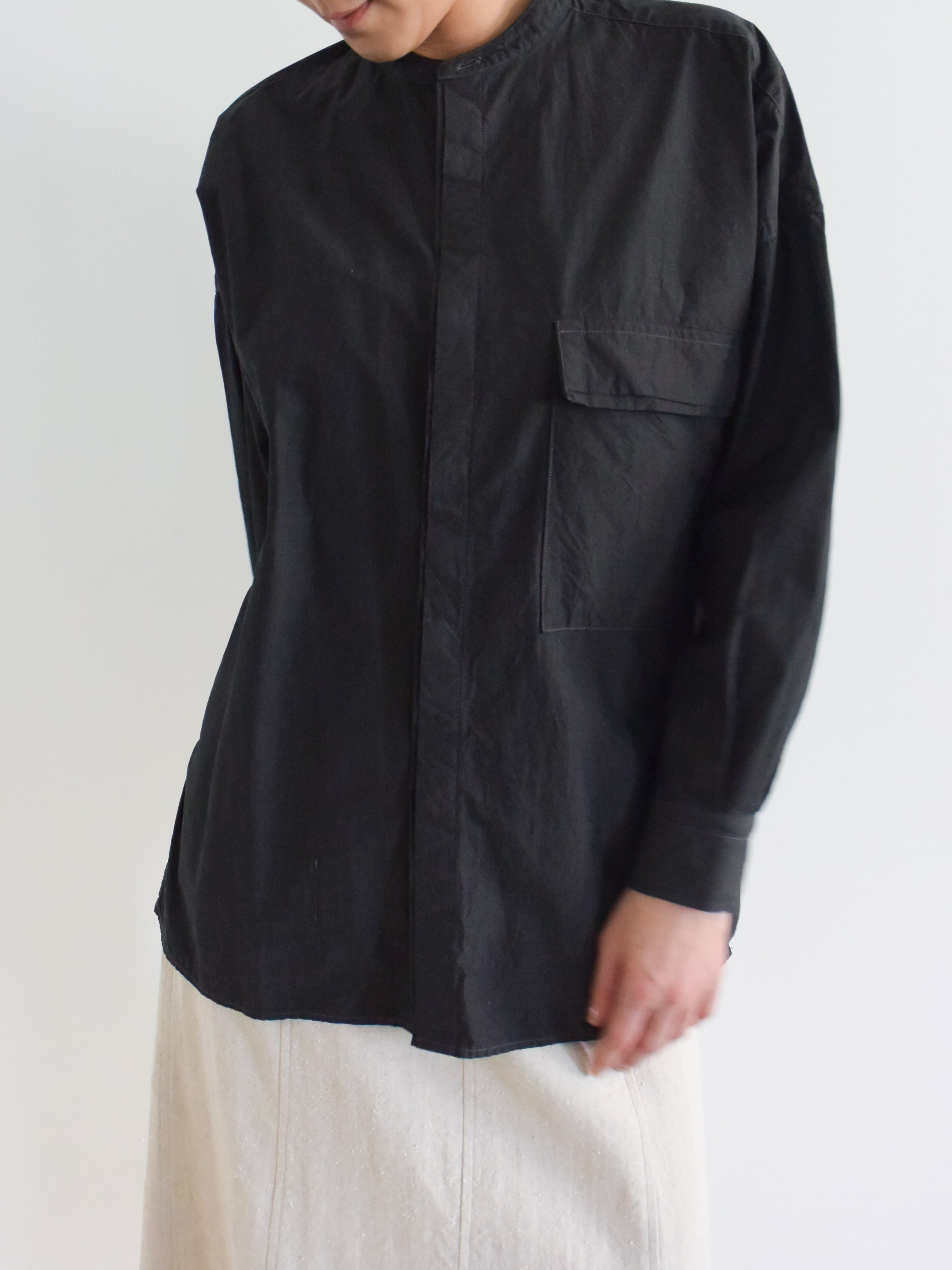 Namu Shop - Kaptain Sunshine Fly Front Band Collar Shirt - Charcoal