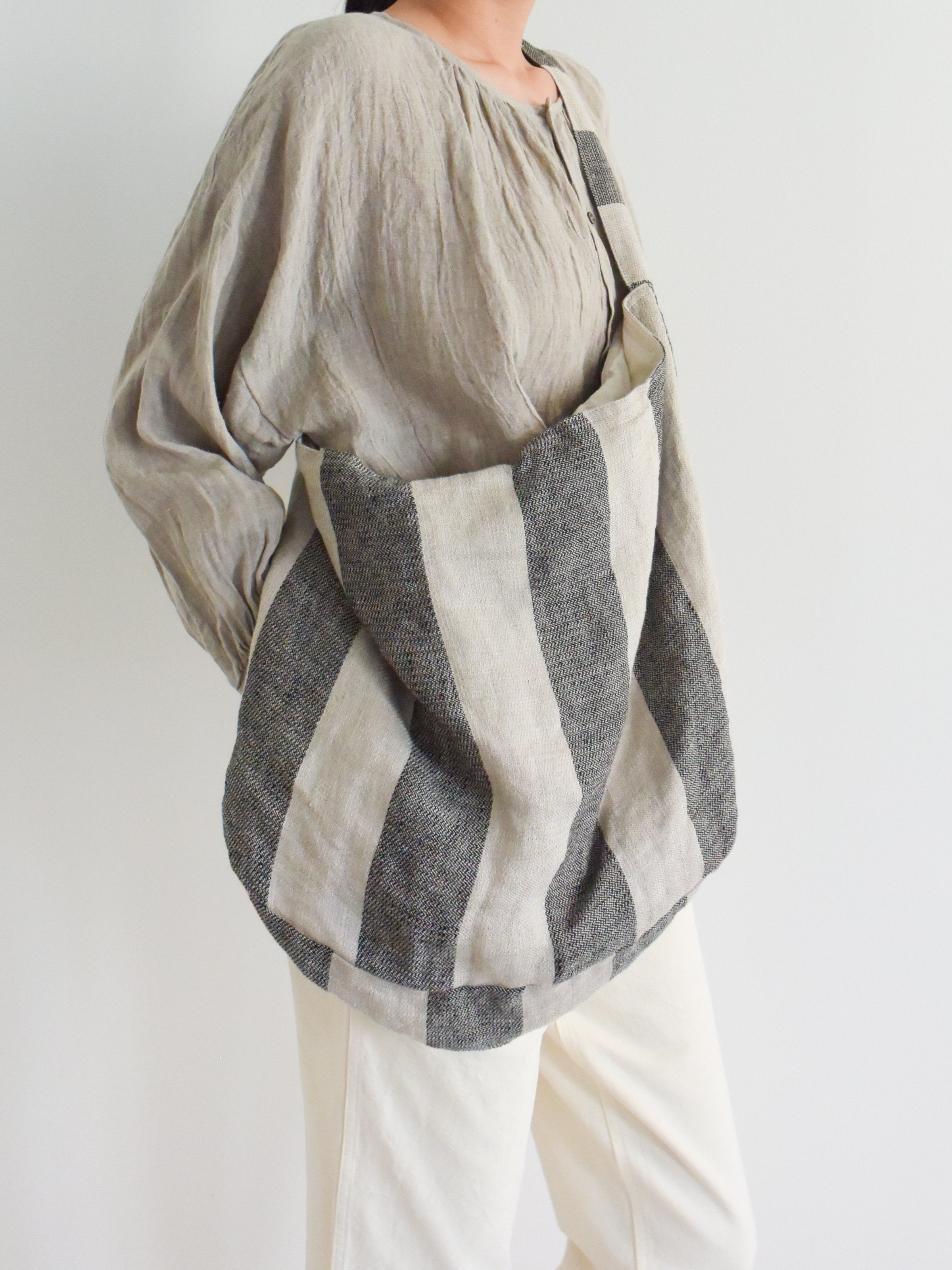 Namu Shop - Ichi Antiquites Striped Linen Two-Way Bag