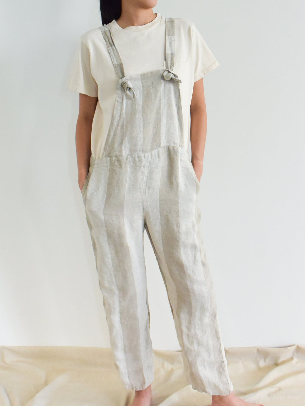 Namu Shop - Ichi Antiquites Striped Linen Overalls