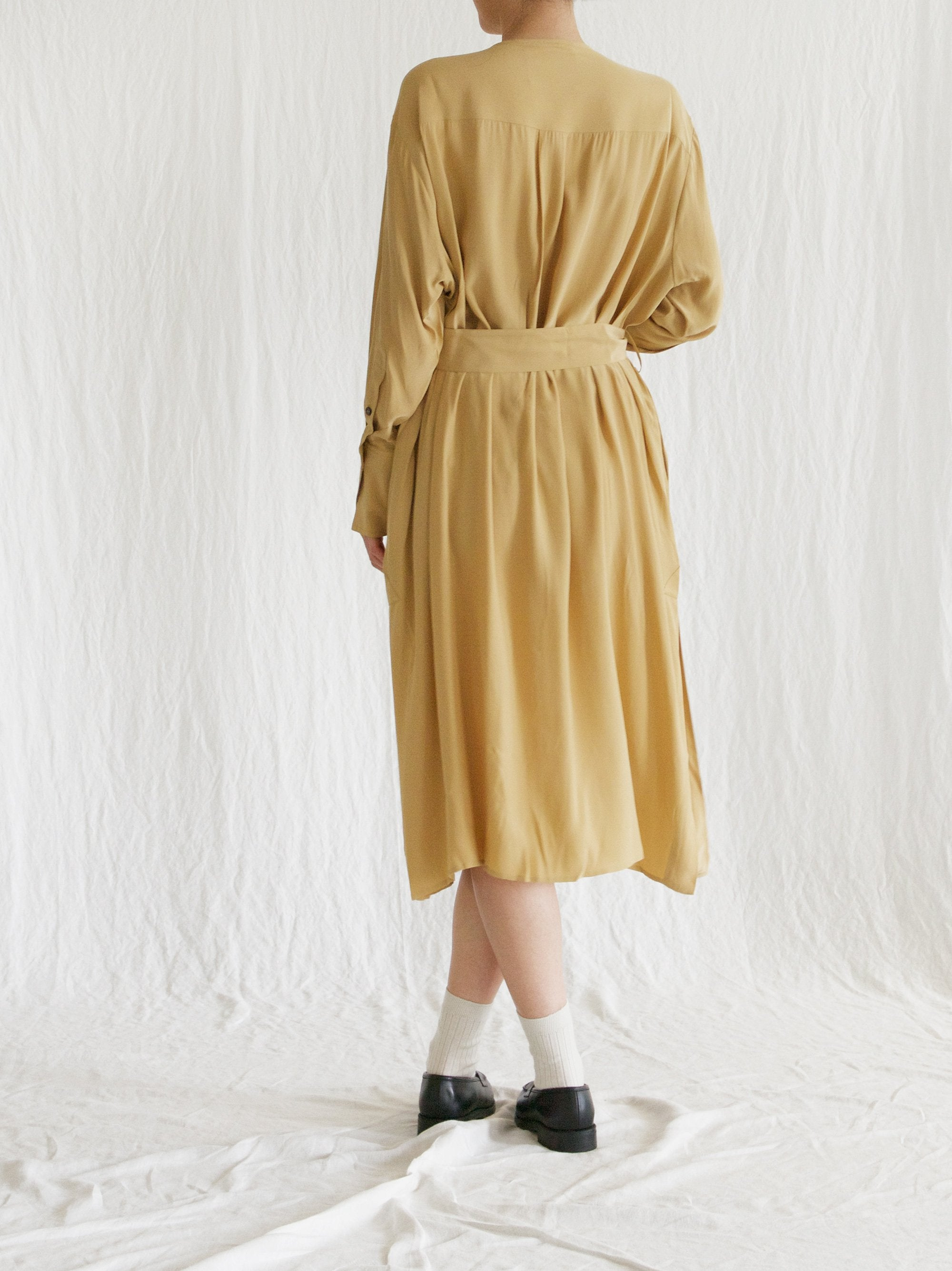 Namu Shop - Studio Nicholson Silk Satin Belted Shirt Dress - Dessert