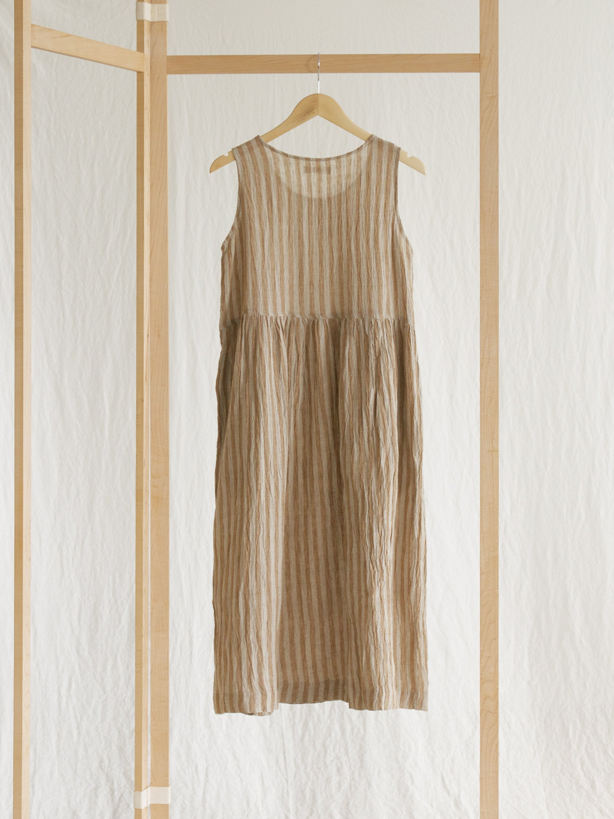 Namu Shop - Ichi Antiquites Sleeveless Linen Dress - Camel Stripe