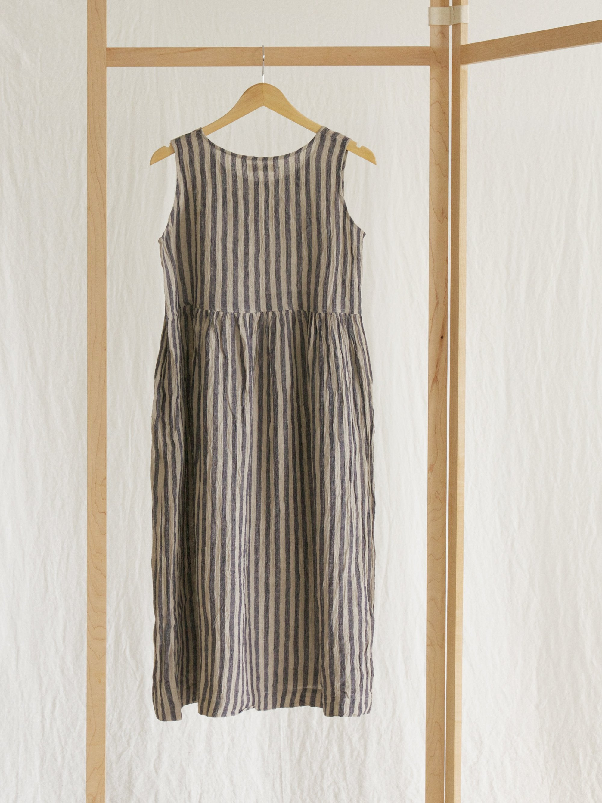 Namu Shop - Ichi Antiquites Sleeveless Linen Dress - Navy Stripe