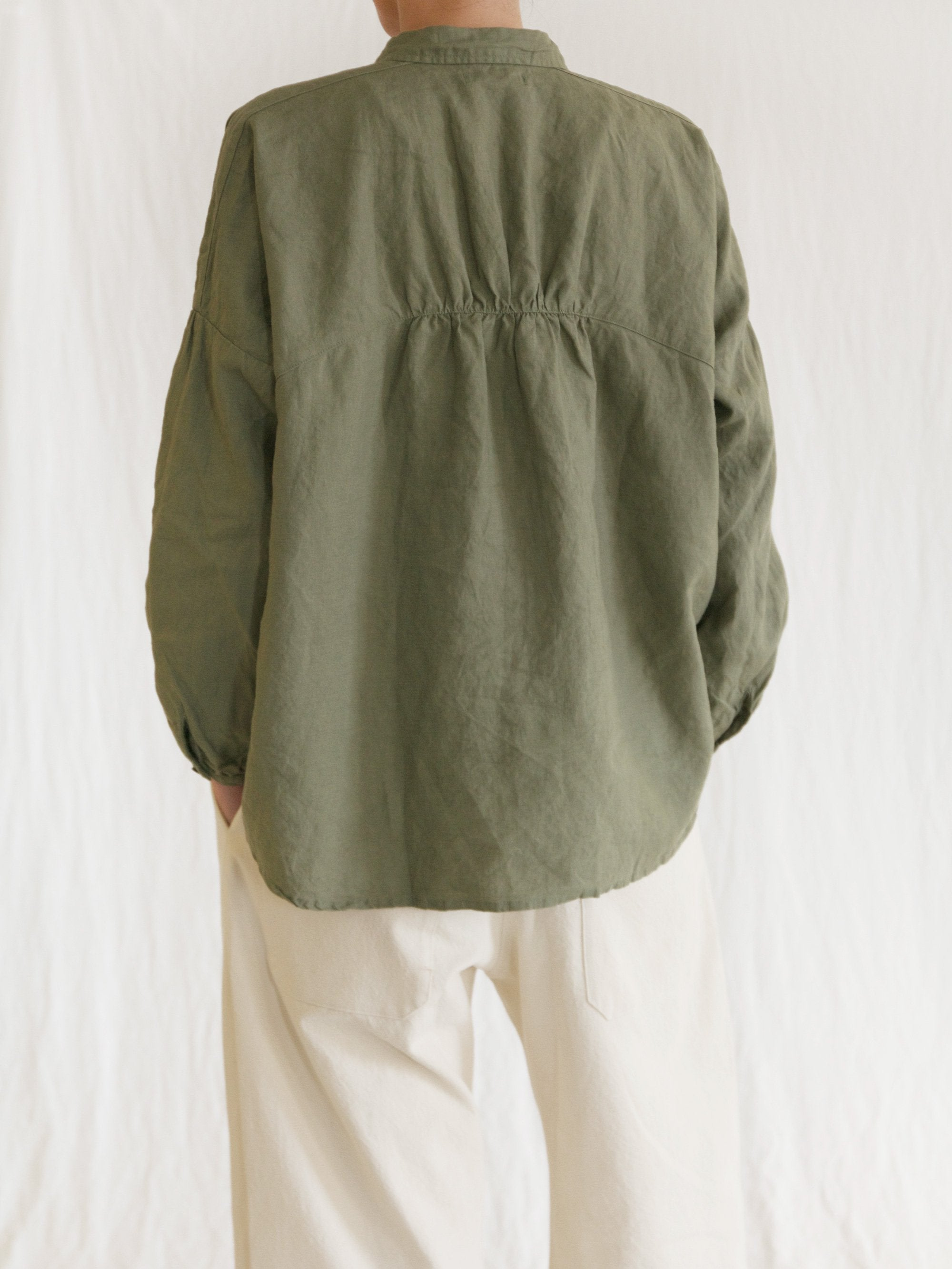 Namu Shop - Ichi Antiquites Linen Gather Circle Shirt - Olive