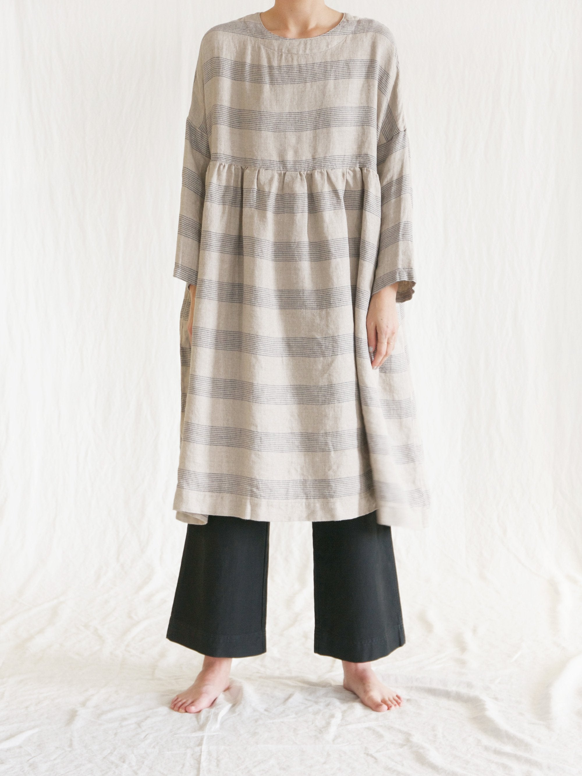 Namu Shop - Ichi Antiquites Linen Striped Gather Dress
