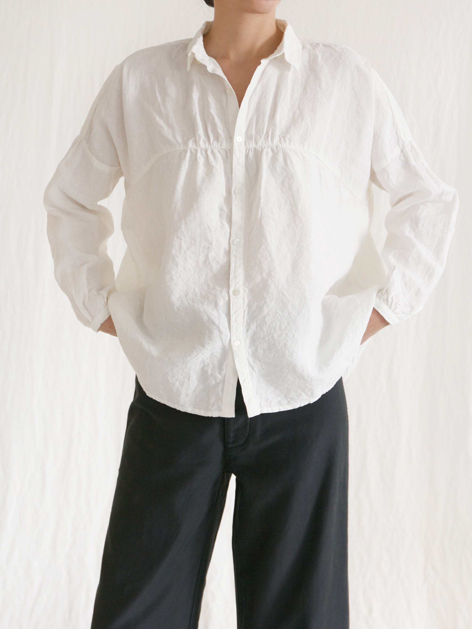Namu Shop - Ichi Antiquites Linen Gather Circle Shirt - White