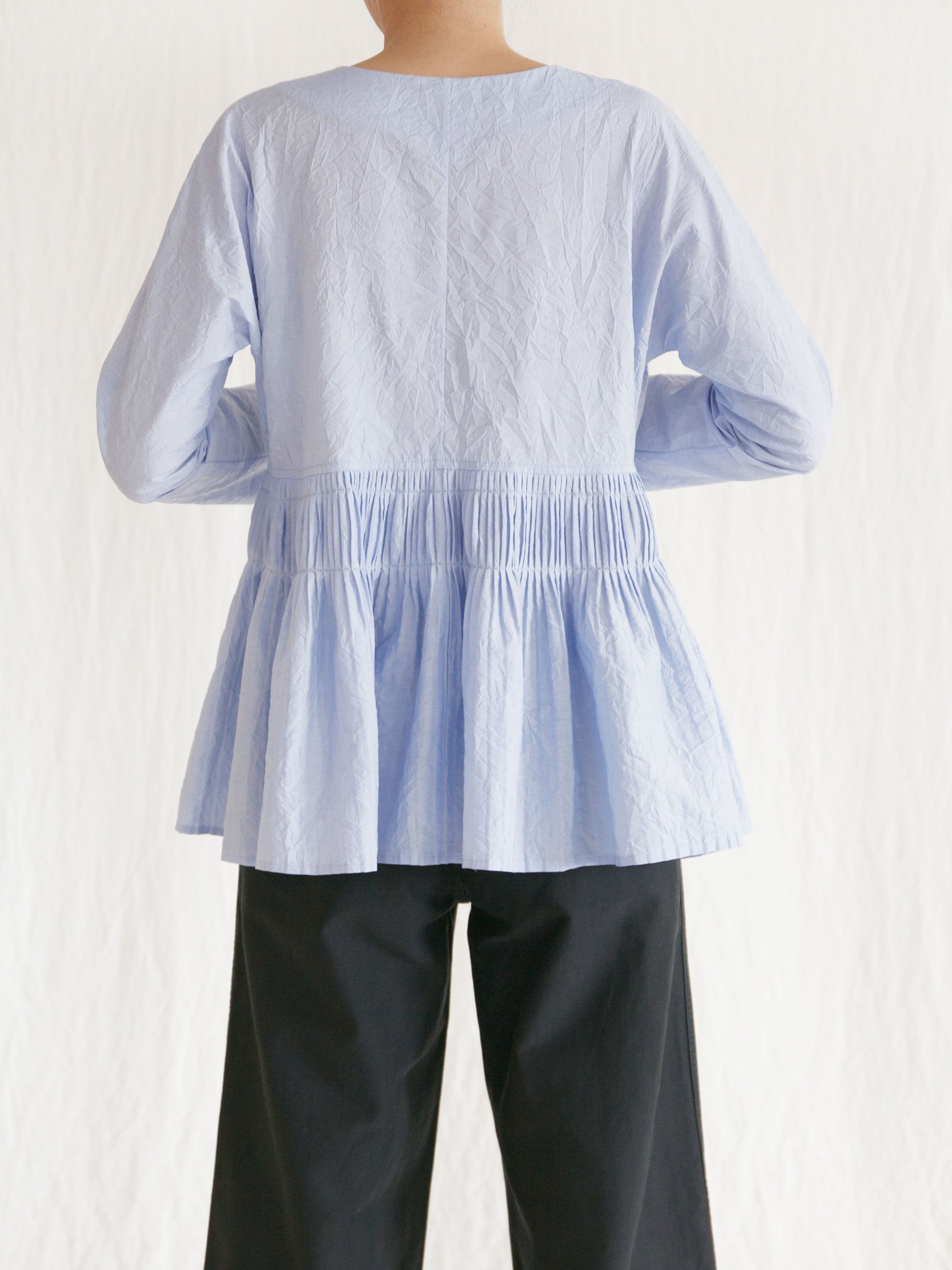 Namu Shop - Caron Callahan Mica Top - Crinkle Blue Oxford