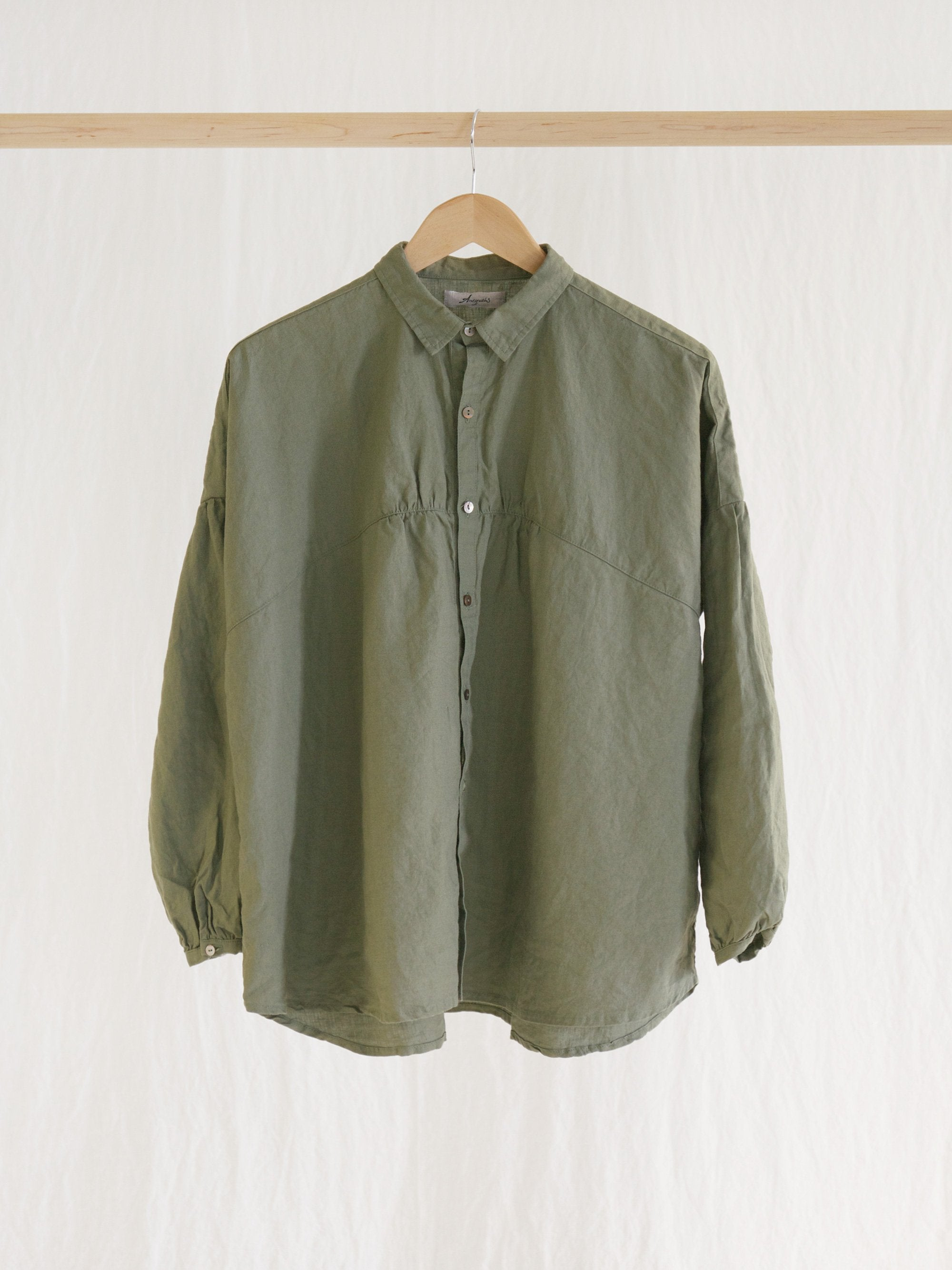 Namu Shop - Ichi Antiquites Linen Gather Circle Shirt - Olive (Re-stocked)