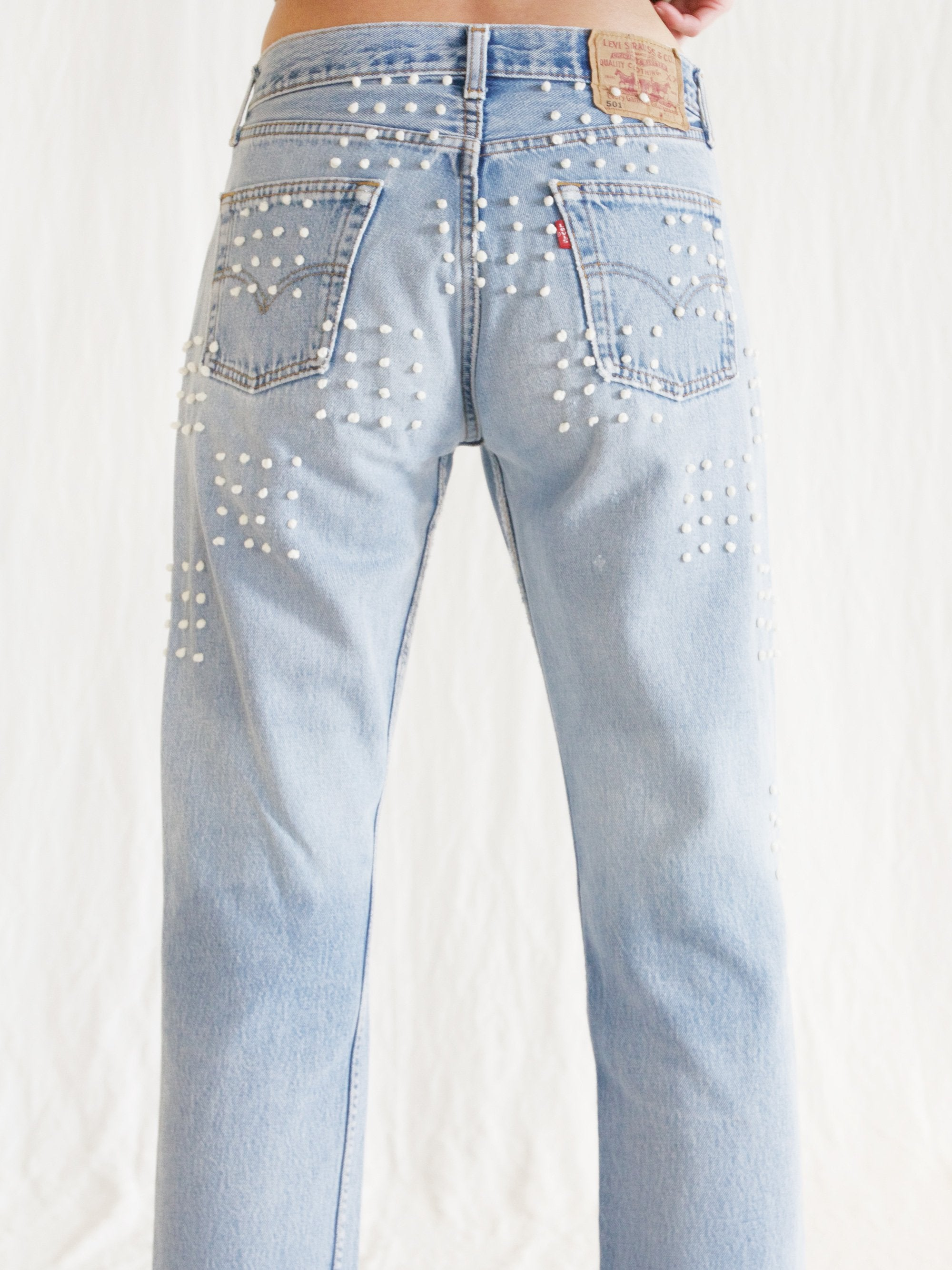 Namu Shop - B Sides Hand Tied French Knot Checker Board Jean