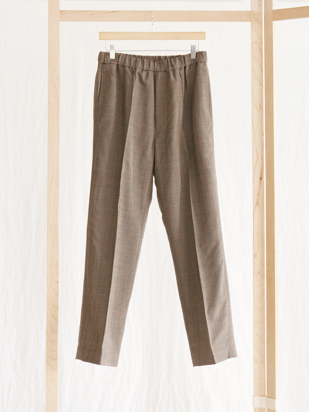 Namu Shop - Kaptain Sunshine Brown Glen Plaid Crease Tucked Easy Pants
