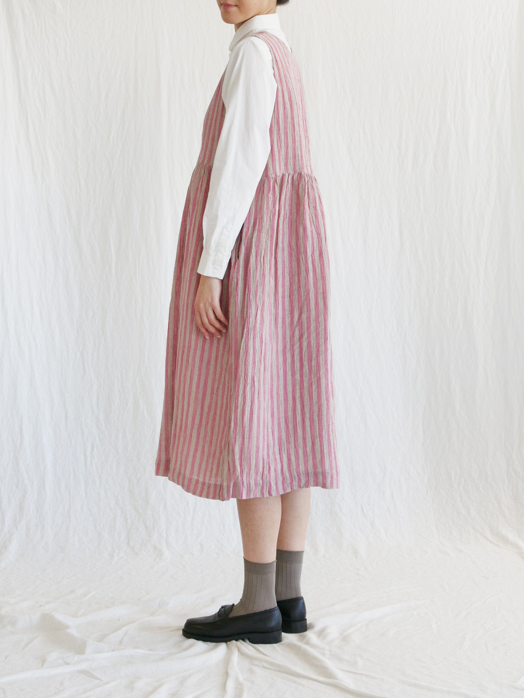 Namu Shop - Ichi Antiquites Sleeveless Linen Dress - Pink Stripe