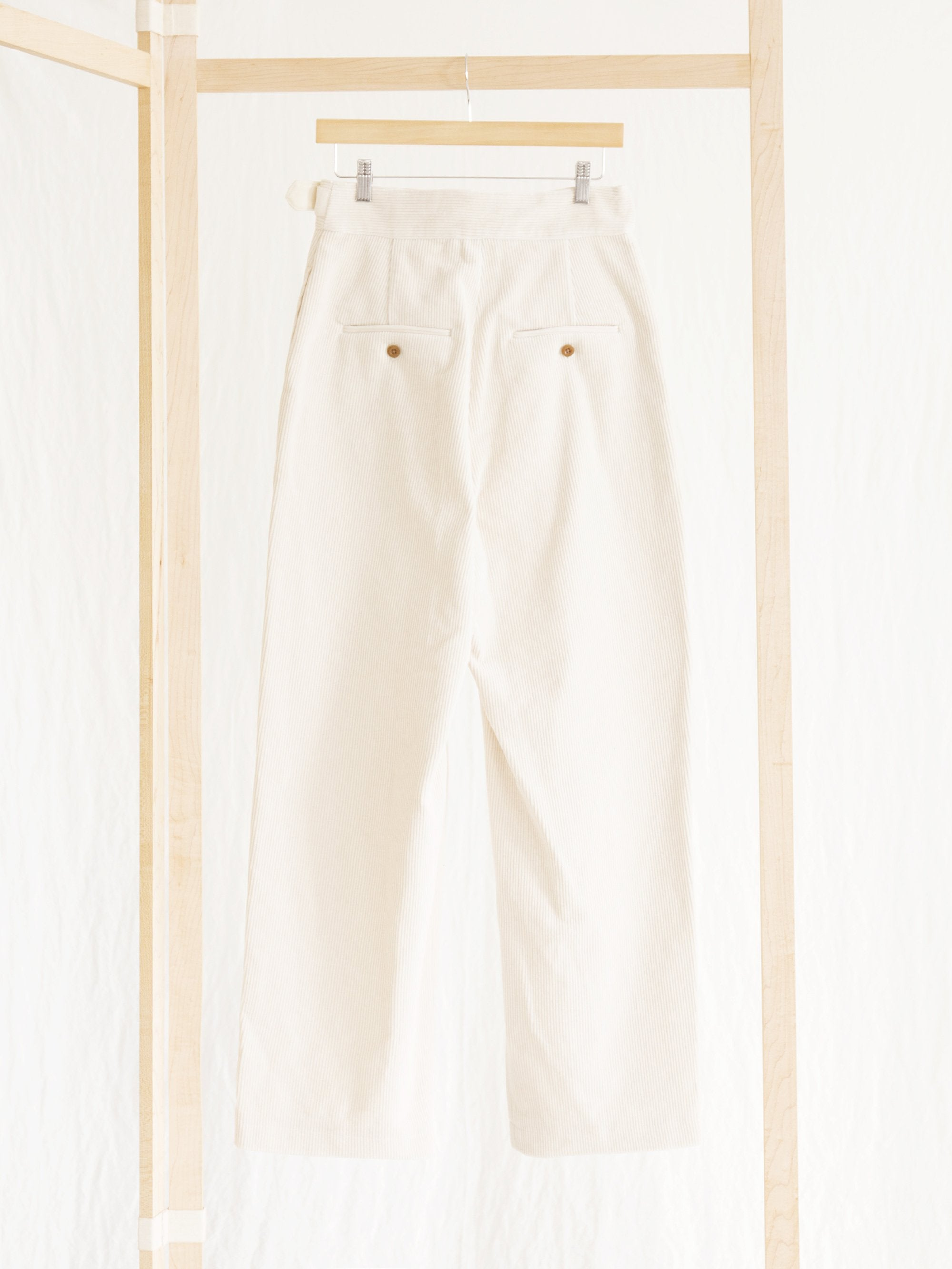 Namu Shop - Phlannel Cotton Corduroy Gurkha Trousers - Ivory