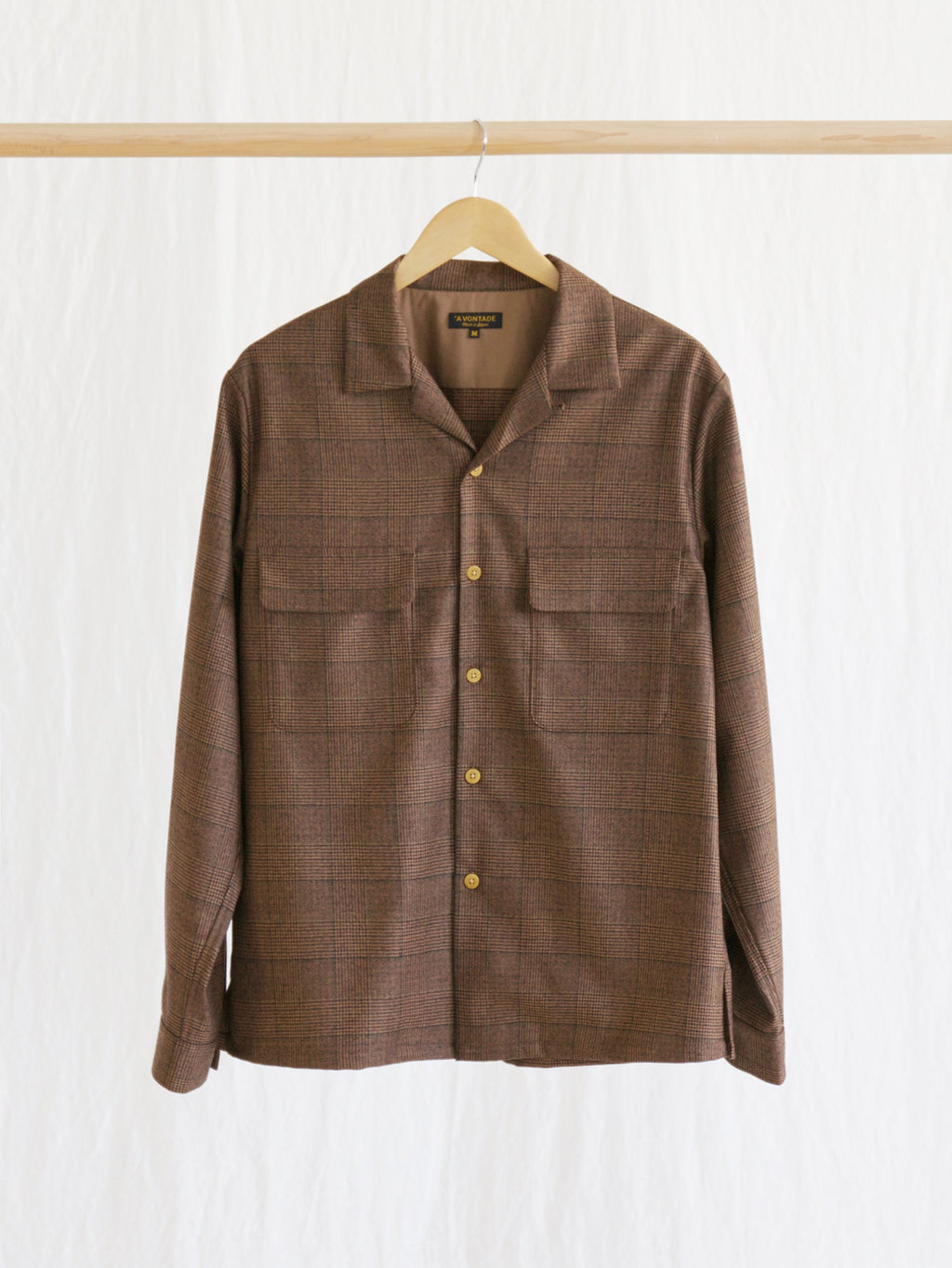 Namu Shop - A Vontade Brown Glen Check Classic Open Shirt
