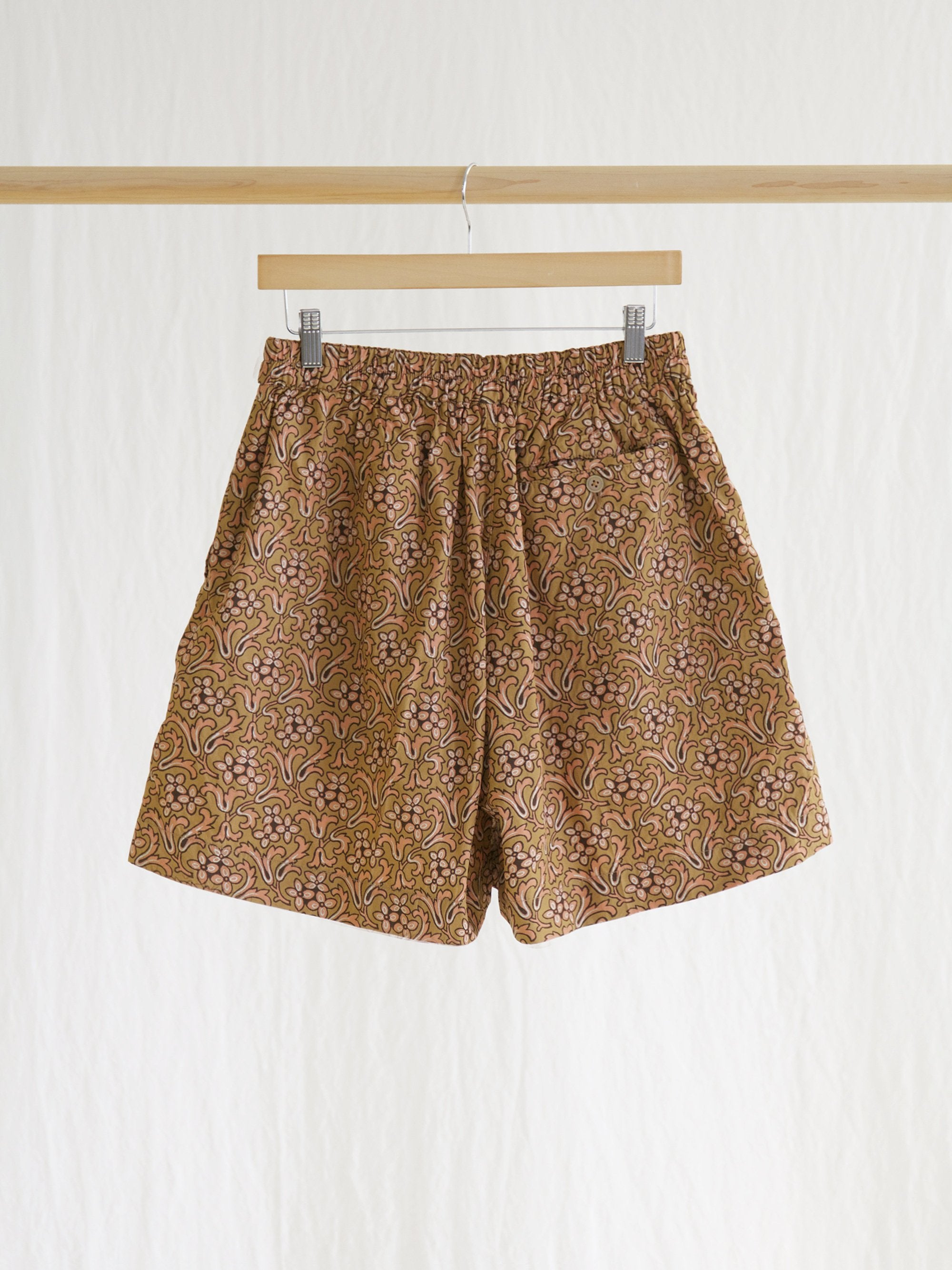 Athletic Wide Shorts - Sand Beige Print