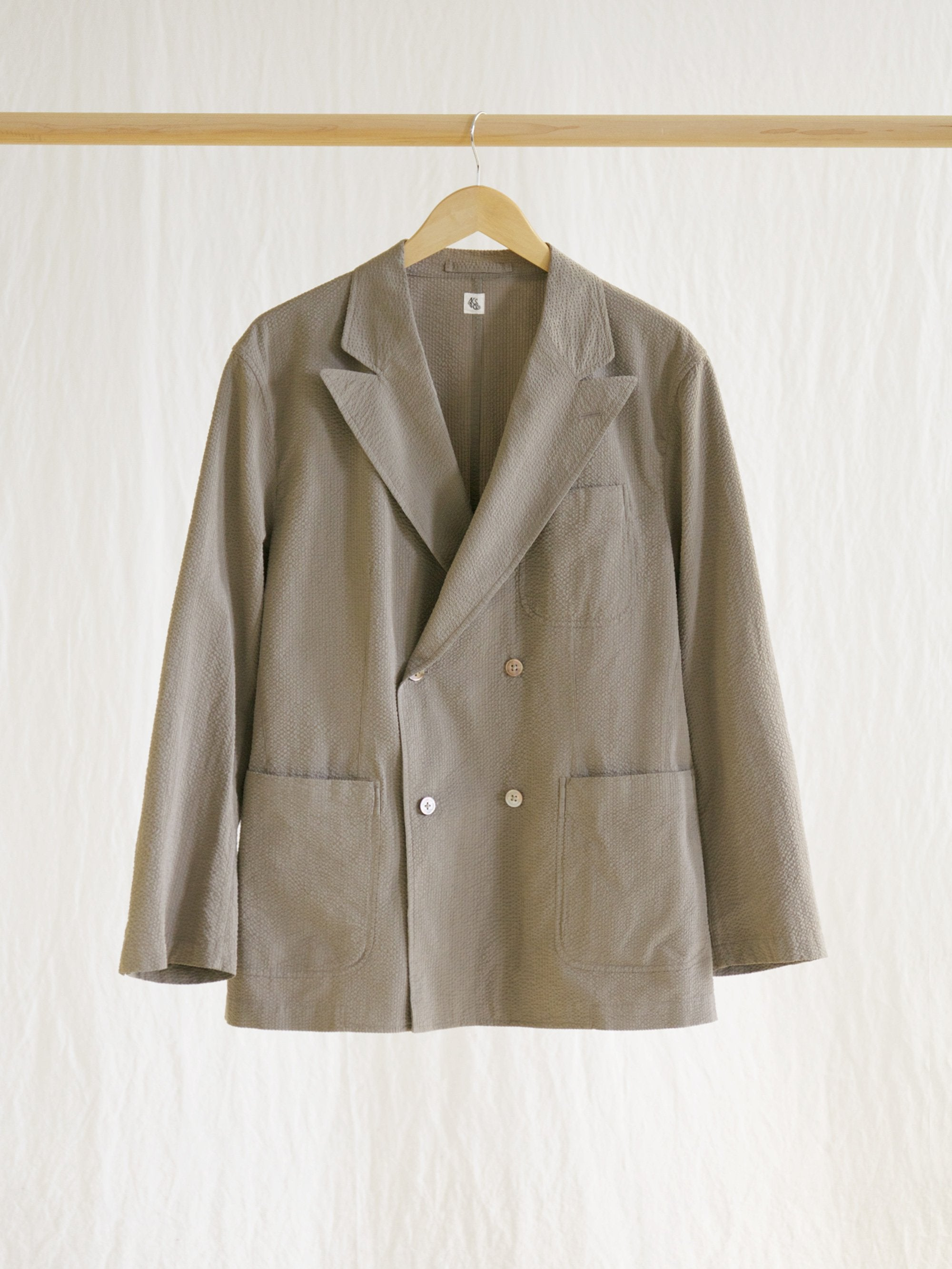 Namu Shop - Kaptain Sunshine Fieldwrap Double-Breasted Jacket - Beige x Gray