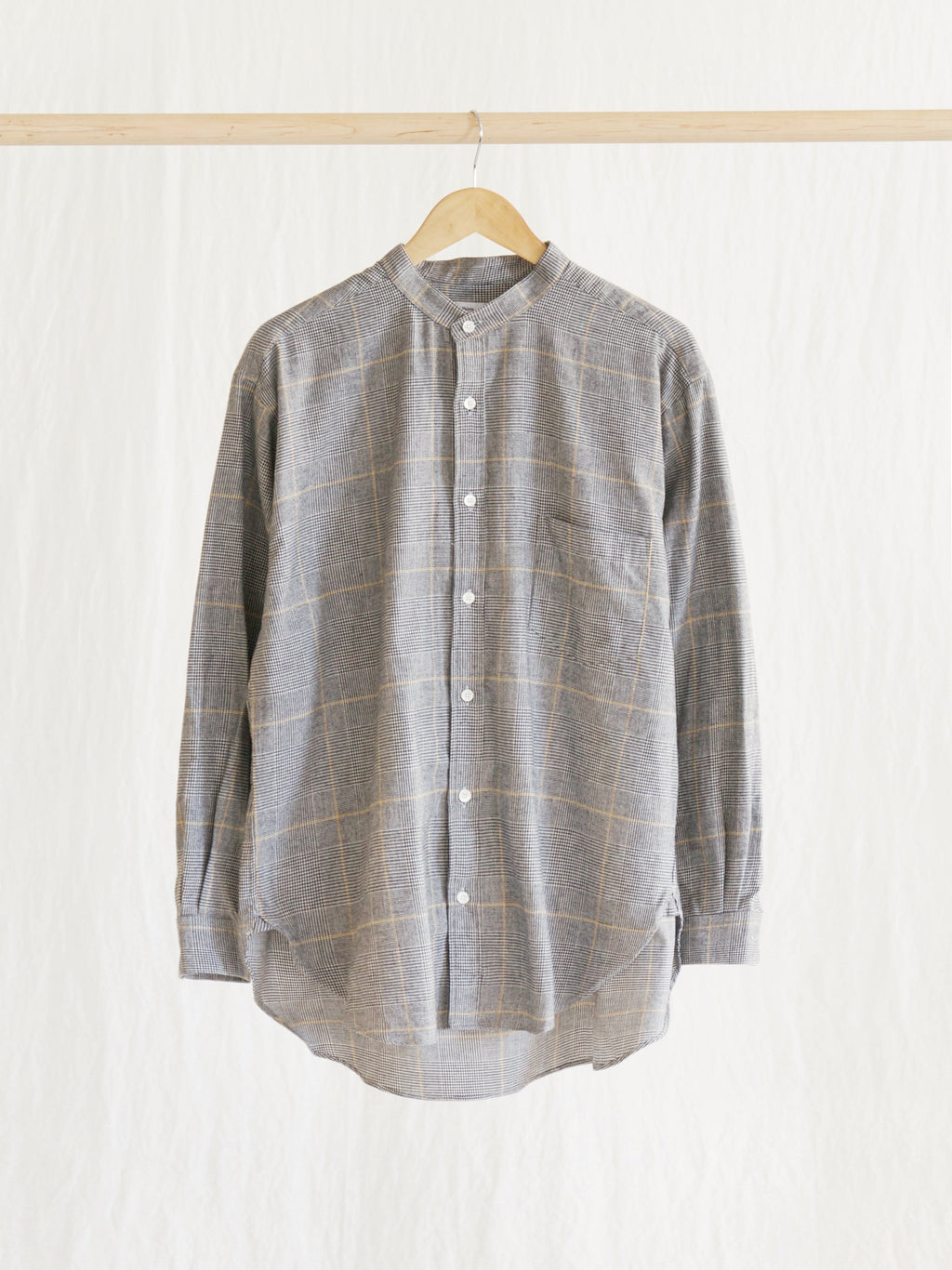 Namu Shop - Niche Glencheck Band Collar Shirt