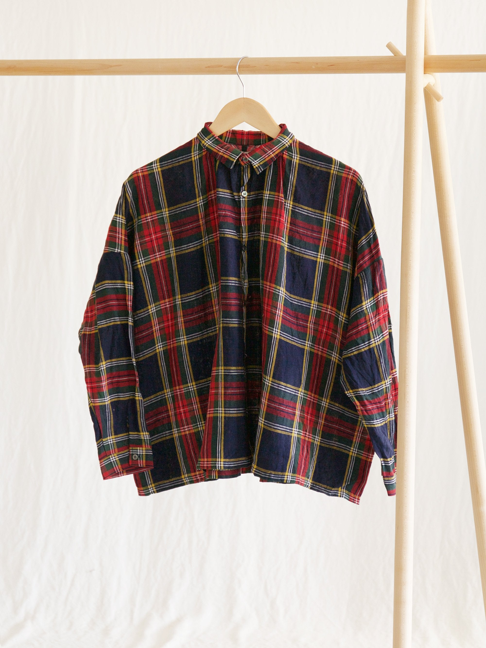 Namu Shop - Ichi Antiquites Linen Tartan Check Gather Shirt - Navy