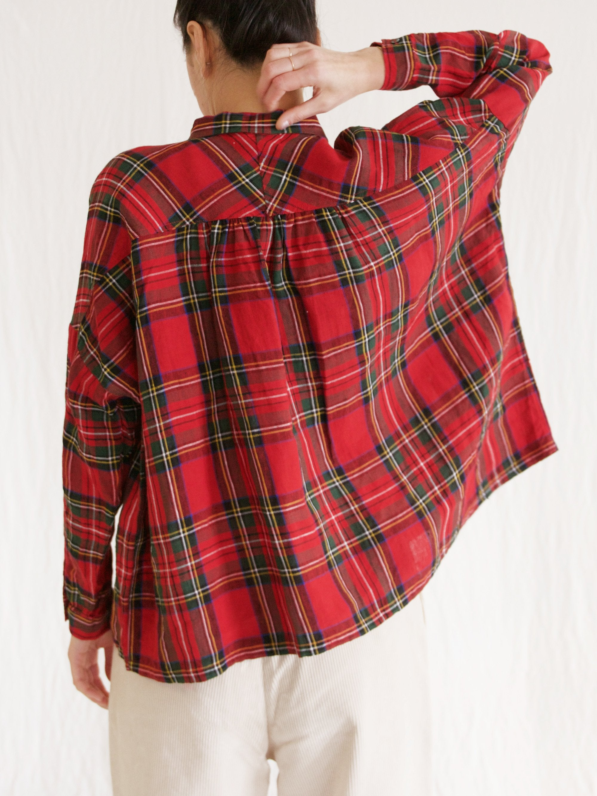 Namu Shop - Ichi Antiquites Linen Tartan Check Gather Shirt - Red