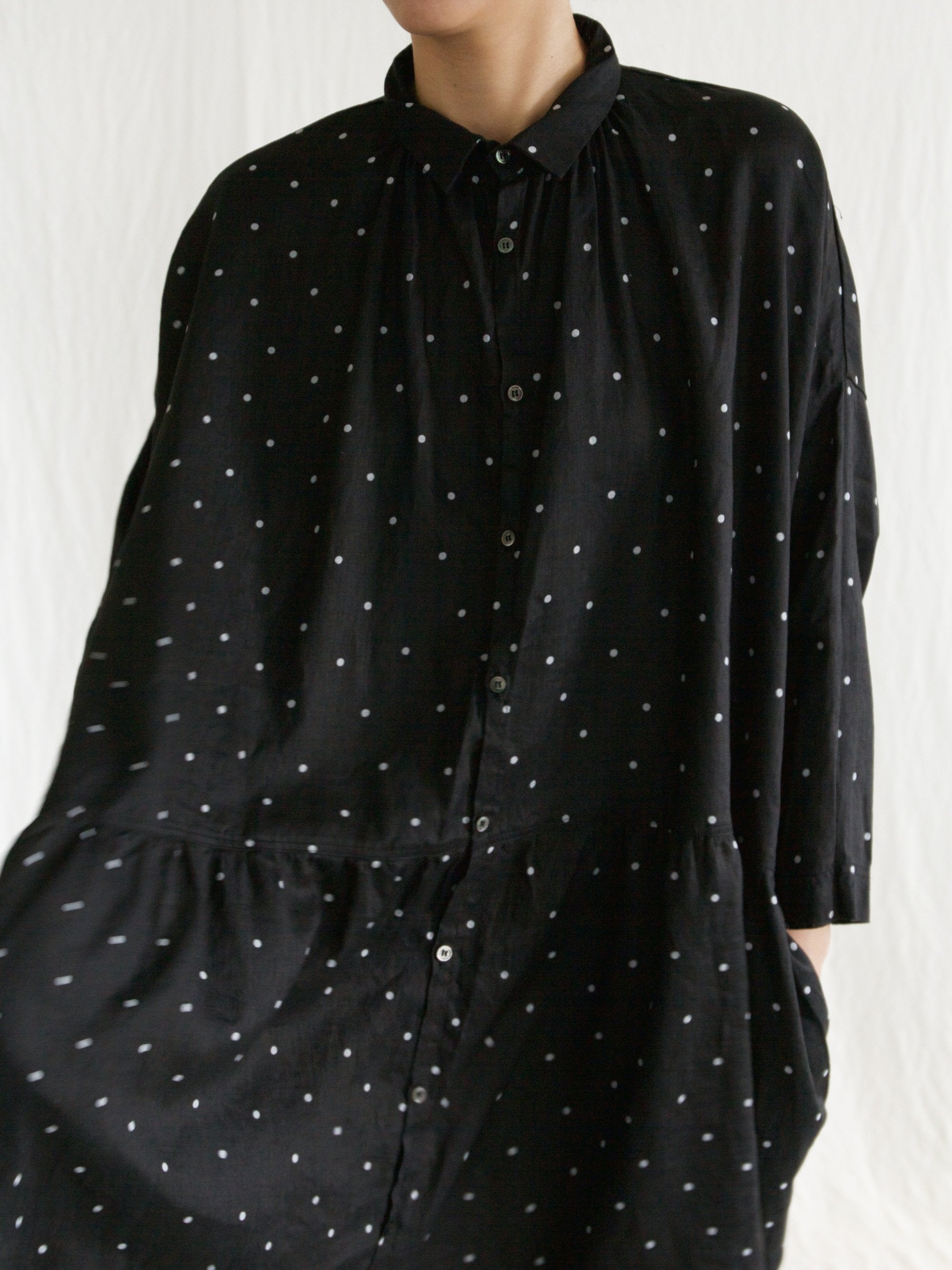 Linen Dot Gather Dress