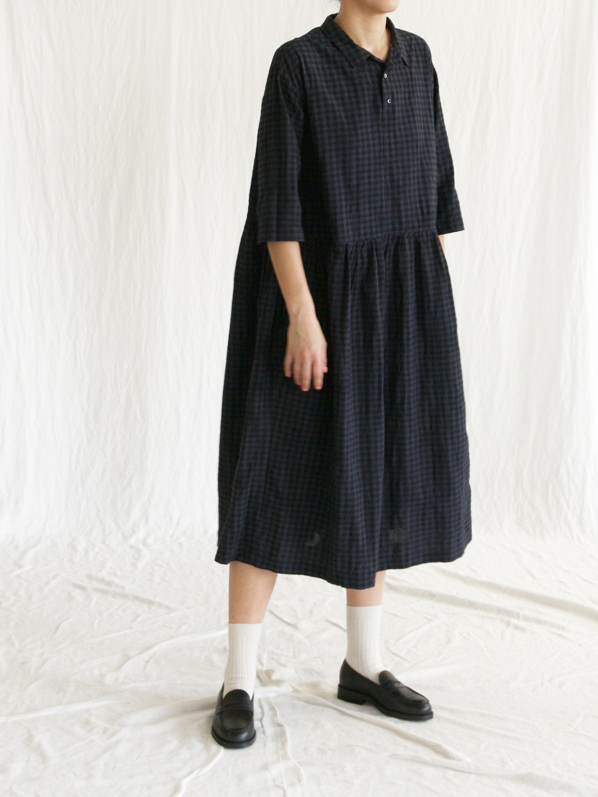 Gingham x Dot Jacquard Dress - Charcoal