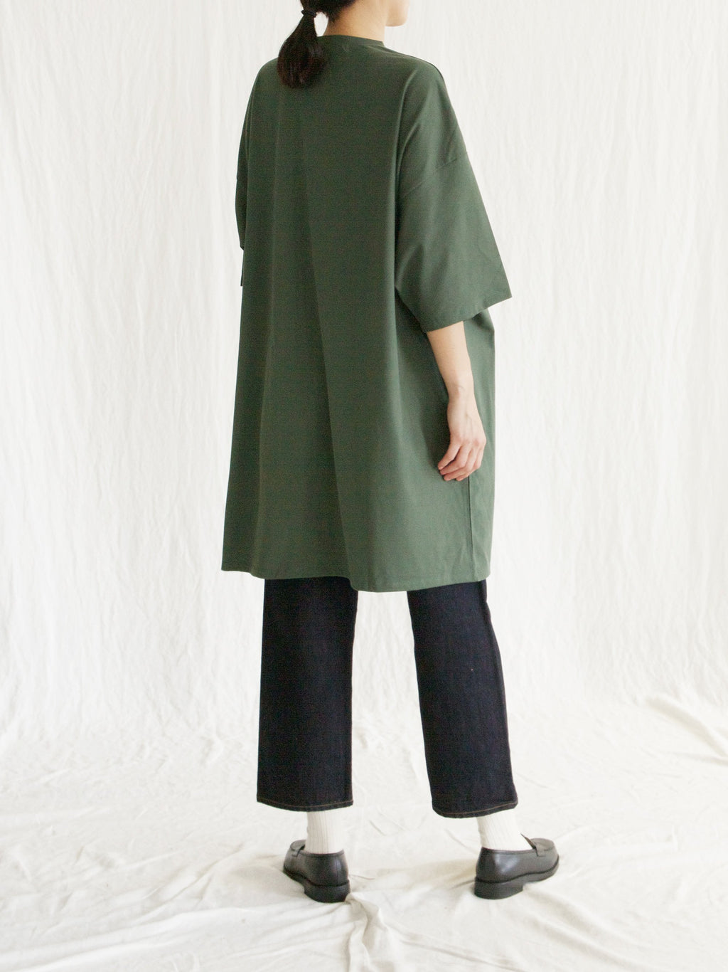 Namu Shop - Veritecoeur Oversized T-Shirt Dress - Green