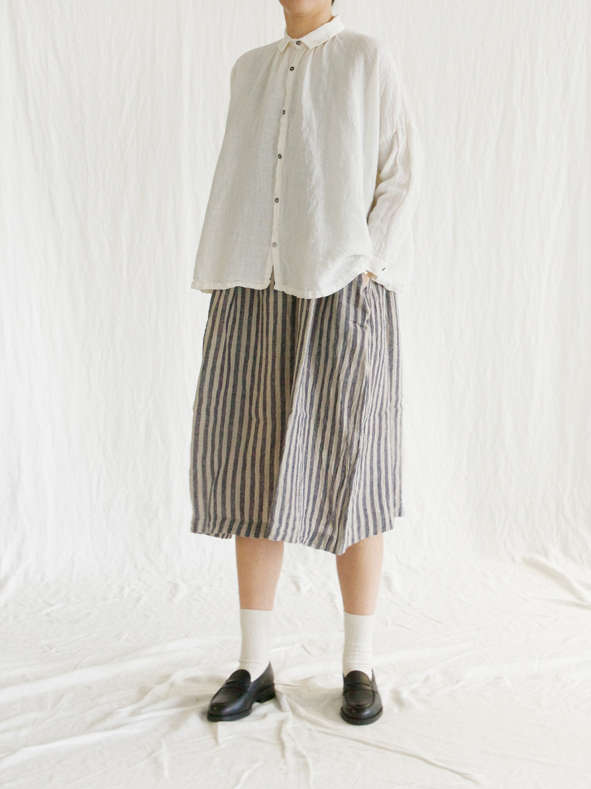 Linen Gather Shirt - White