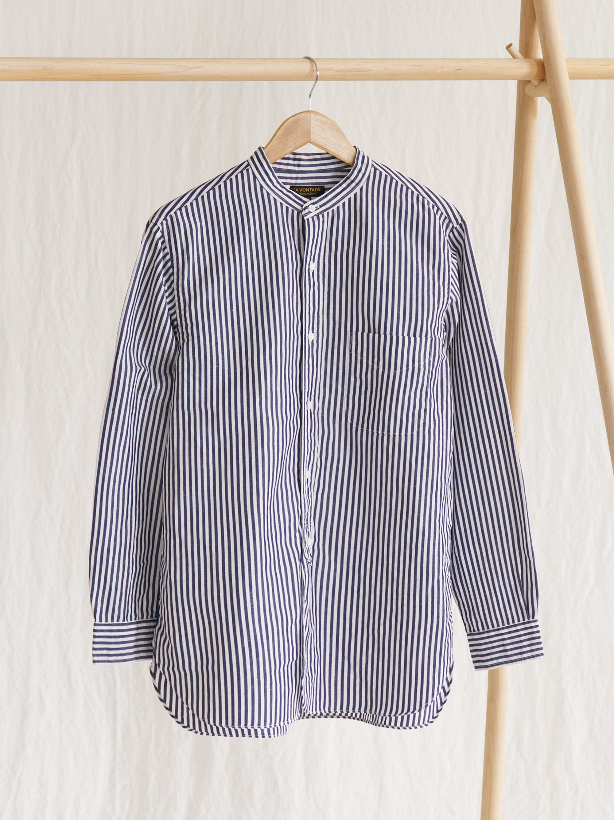 Namu Shop - A Vontade Banded Collar Shirt - Navy Stripe