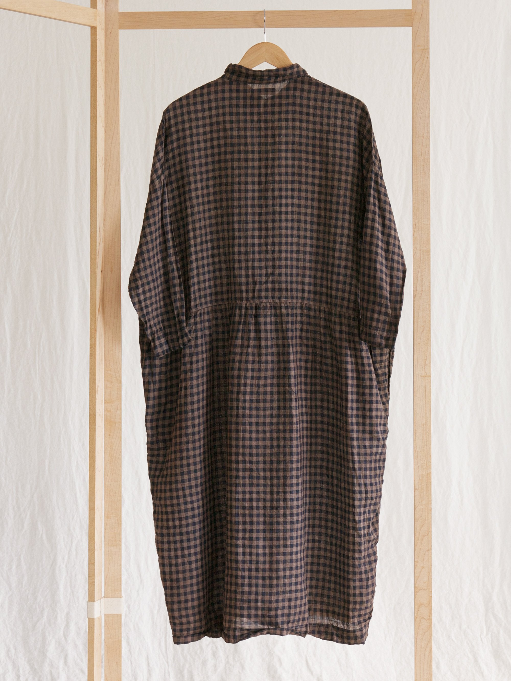 Namu Shop - Ichi Antiquites Linen Gingham Mud Handdyed Gather Dress