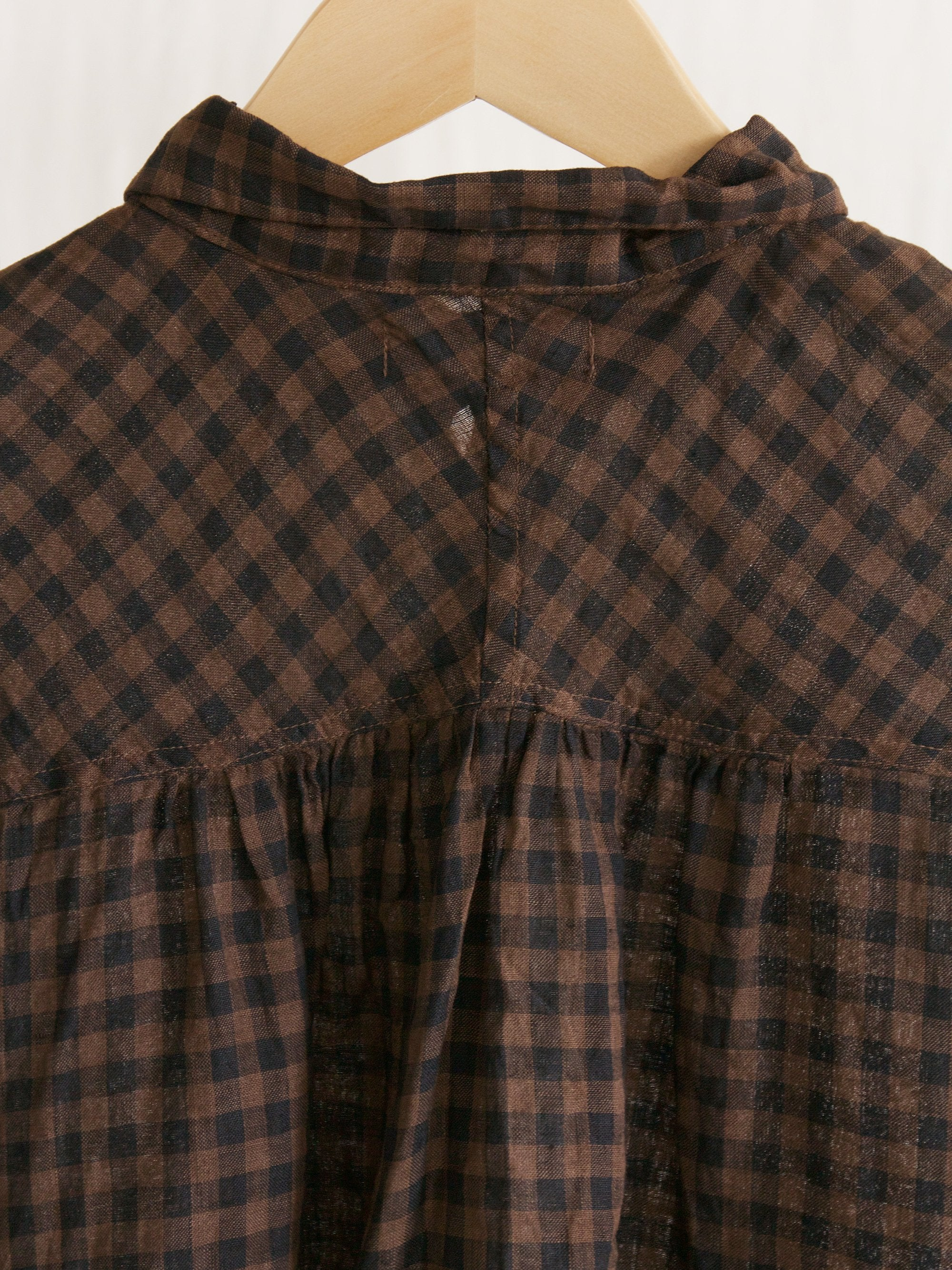 Namu Shop - Ichi Antiquites Linen Gingham Mud Handdyed Gather Shirt