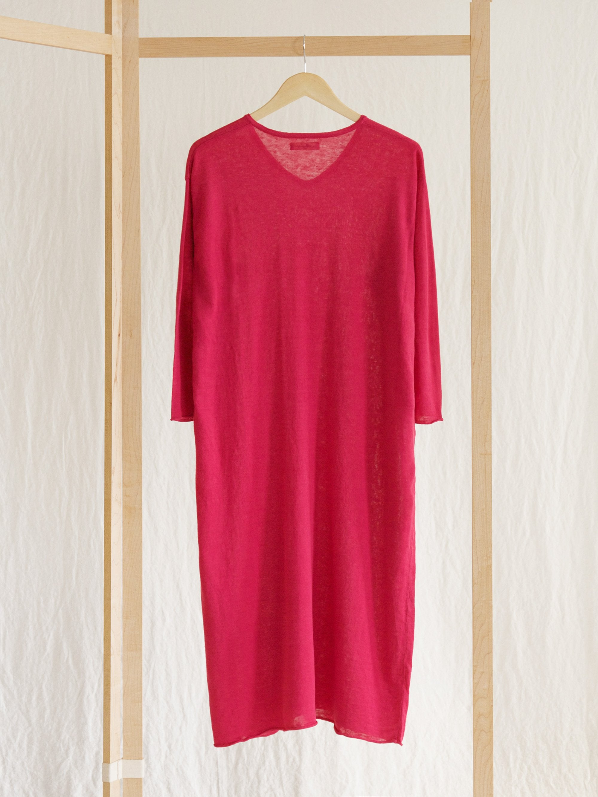 Namu Shop - Ichi Antiquites Linen V-Neck Dress - Pink