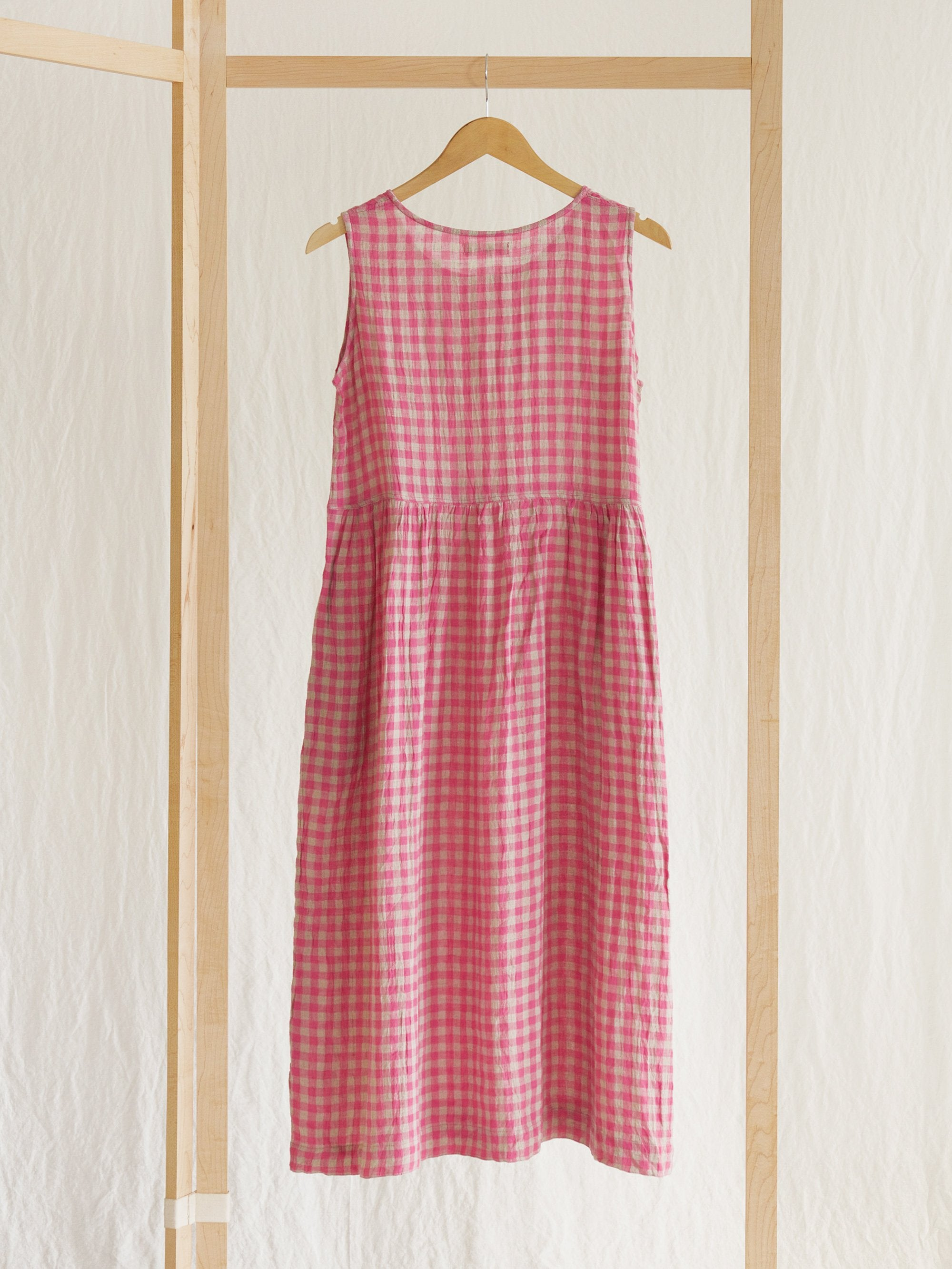 Namu Shop - Ichi Antiquites Sleeveless Linen Dress - Pink Gingham
