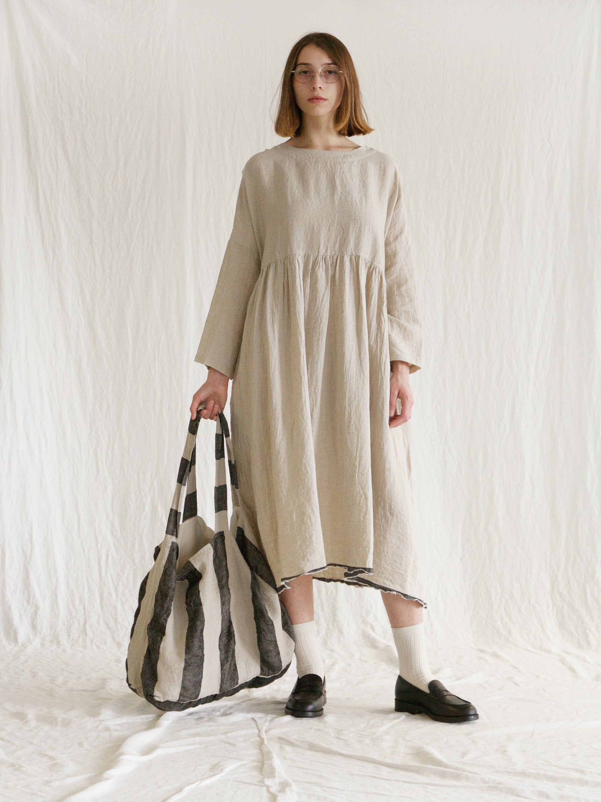 Namu Shop - Ichi Antiquites Linen Azumadaki Gather Dress