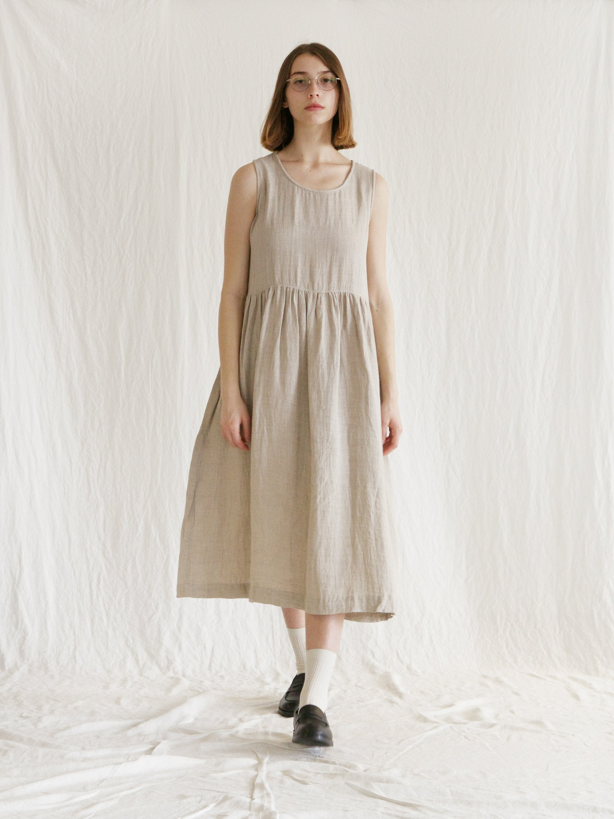 Namu Shop - Ichi Antiquites Double Weave Azumadaki Sleeveless Dress - Natural