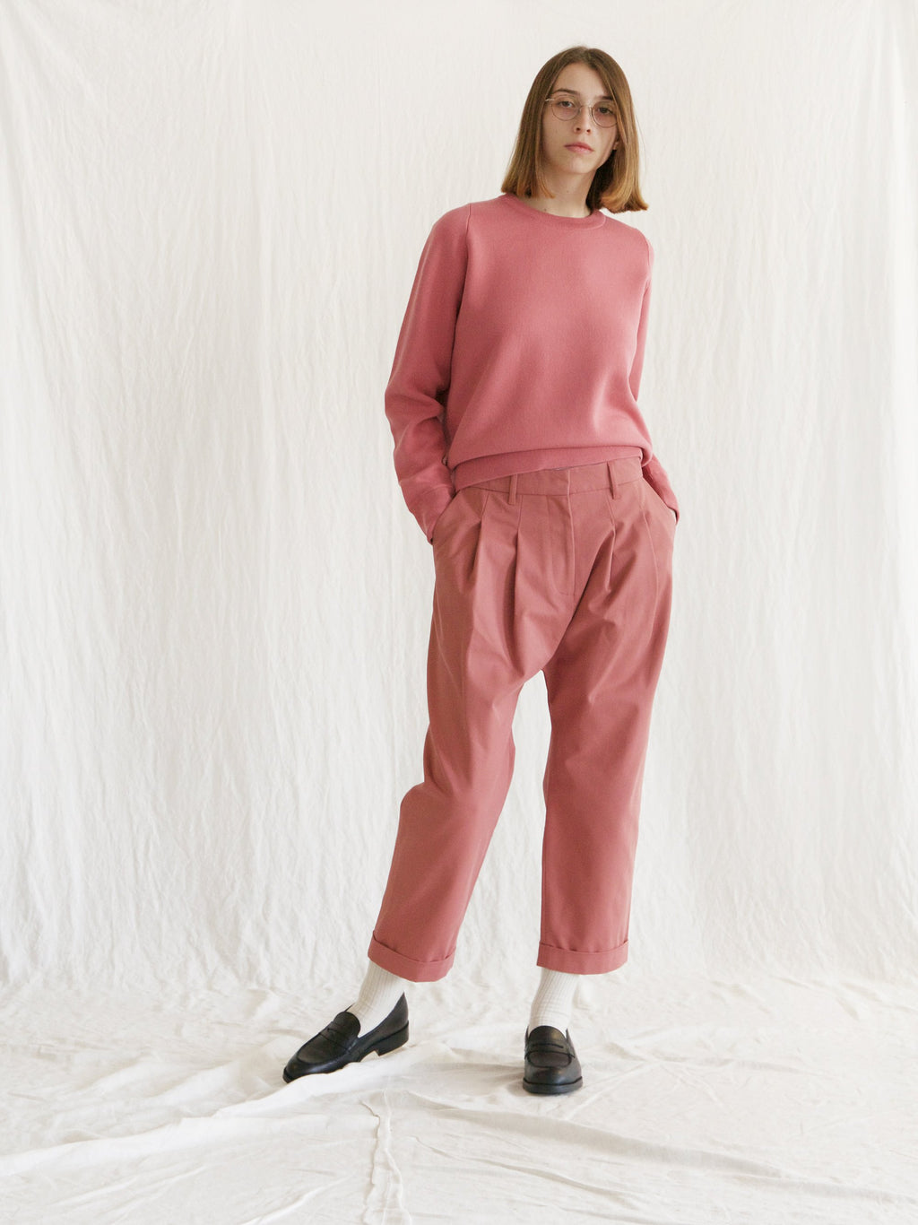 Namu Shop - Studio Nicholson Double Pleat Easy Pants - Medina Pink