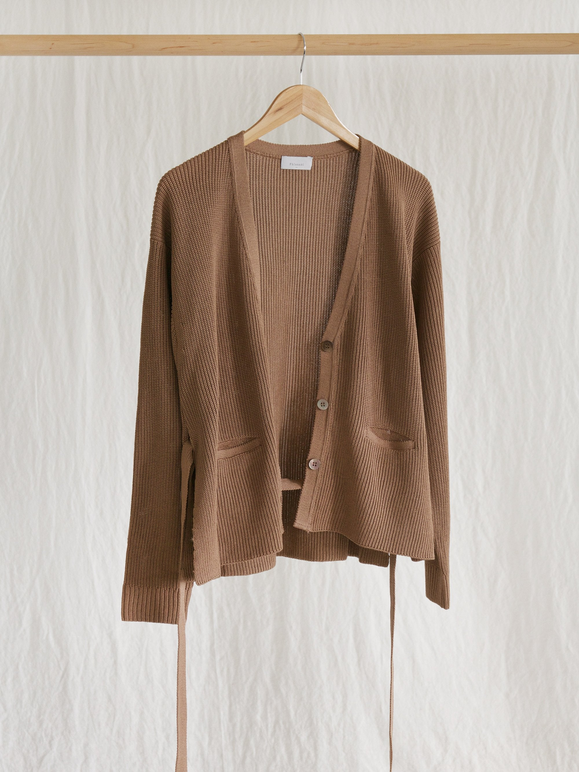 Namu Shop - Phlannel Washi Silk Belted Knit Cardigan - Almond