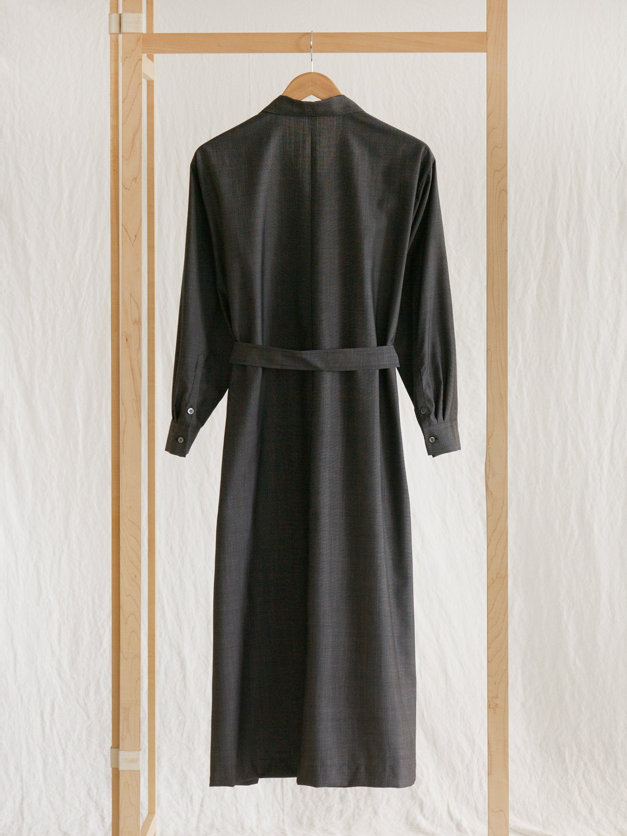 Namu Shop - Phlannel Wool Silk Open Collared Long Dress