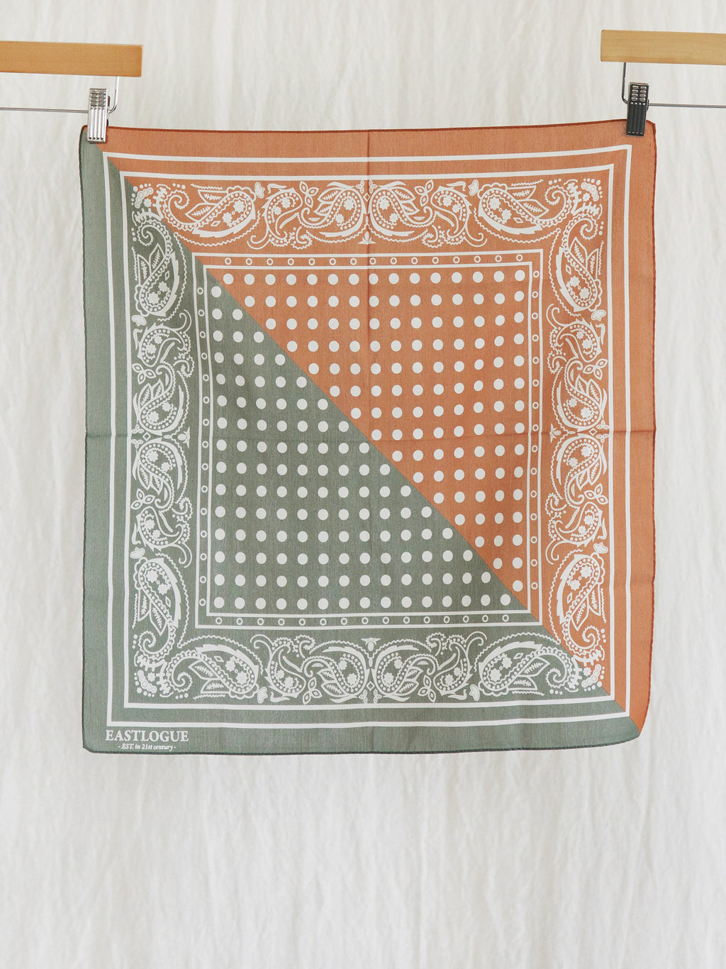 Namu Shop - Eastlogue Silk Bandana - Green & Orange
