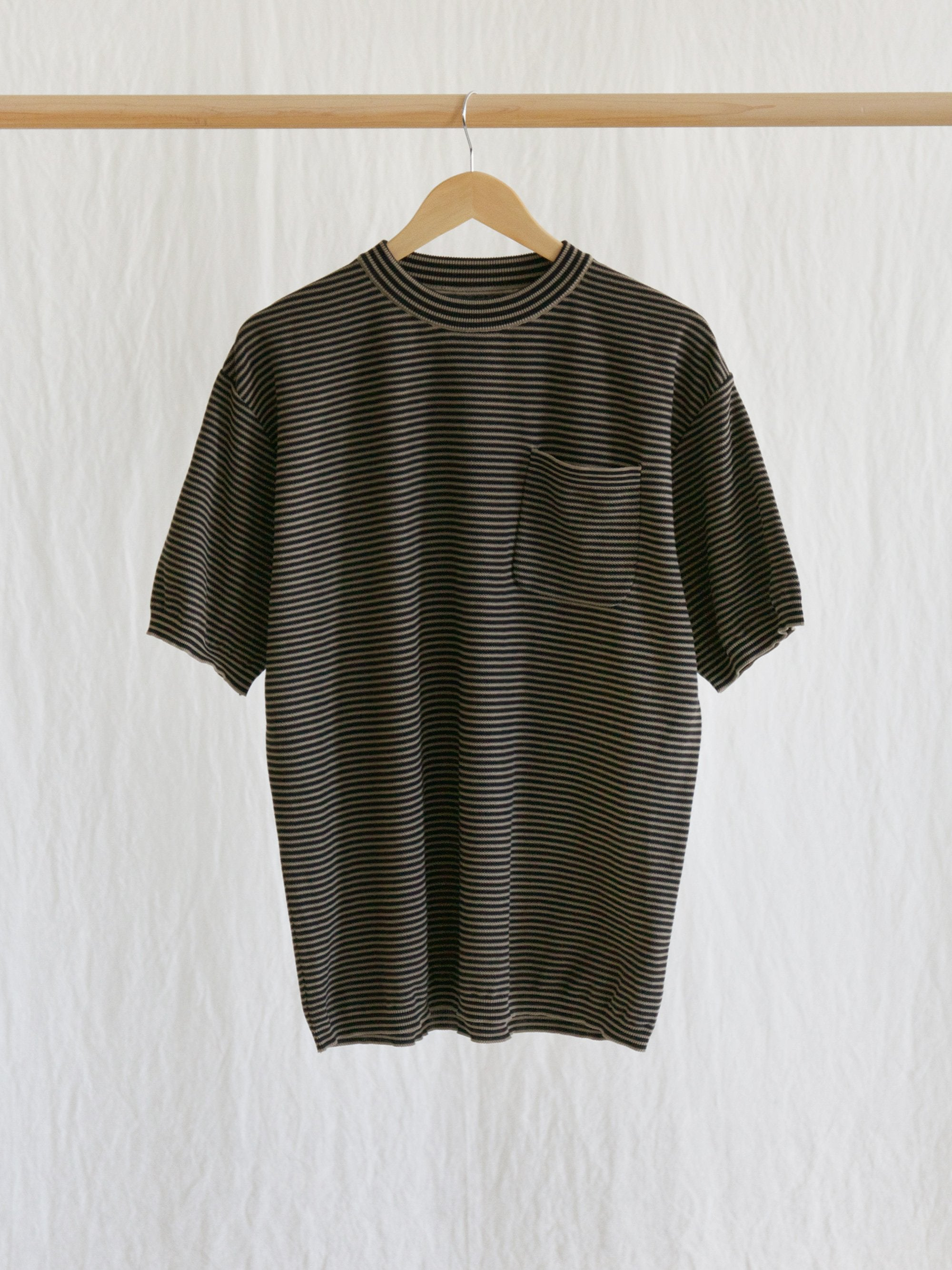 Namu Shop - Kaptain Sunshine Pocket Knit Tee - Black x Safari Border