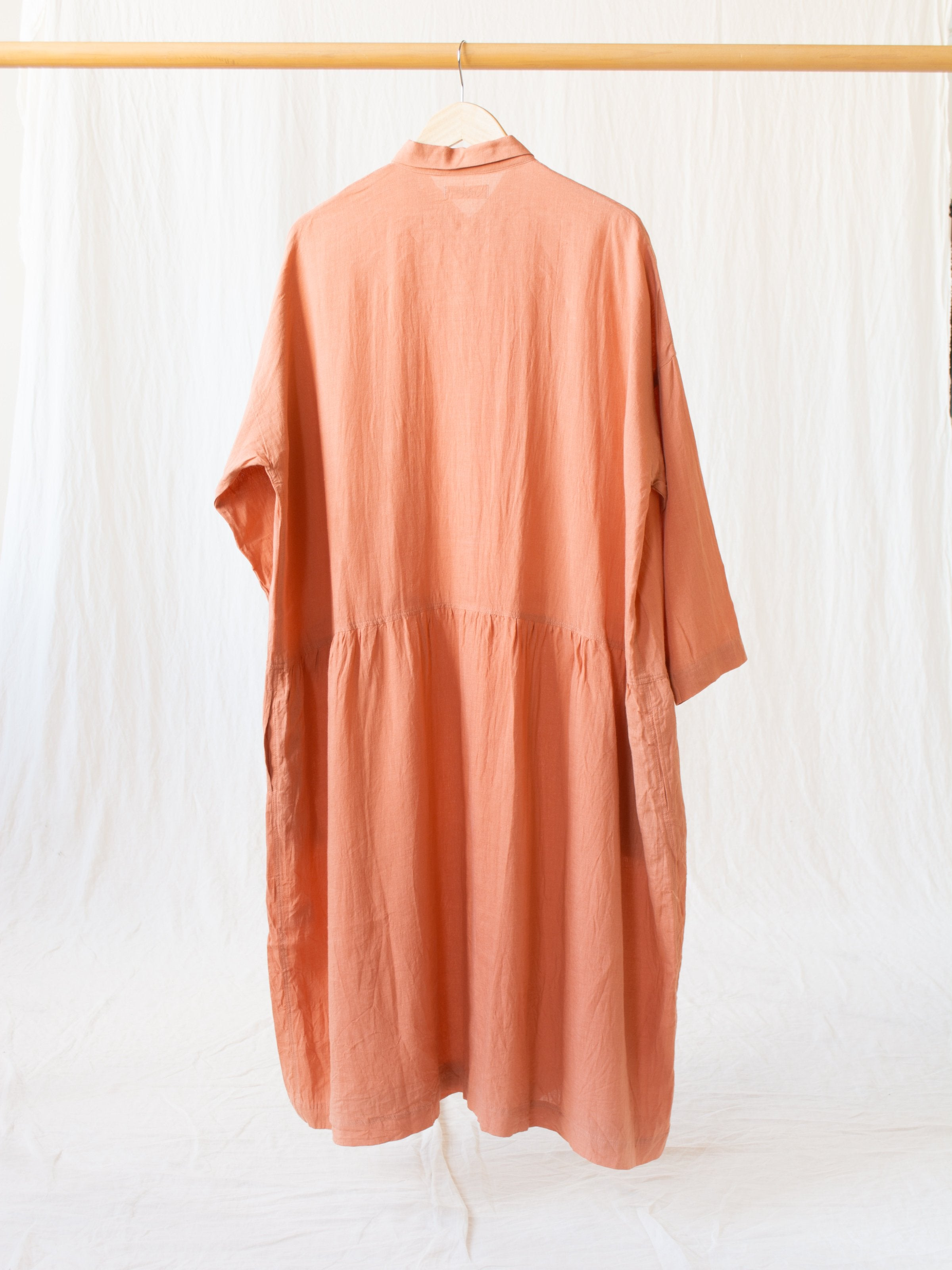 Namu Shop - Ichi Antiquites Linen Gather Dress - Coral
