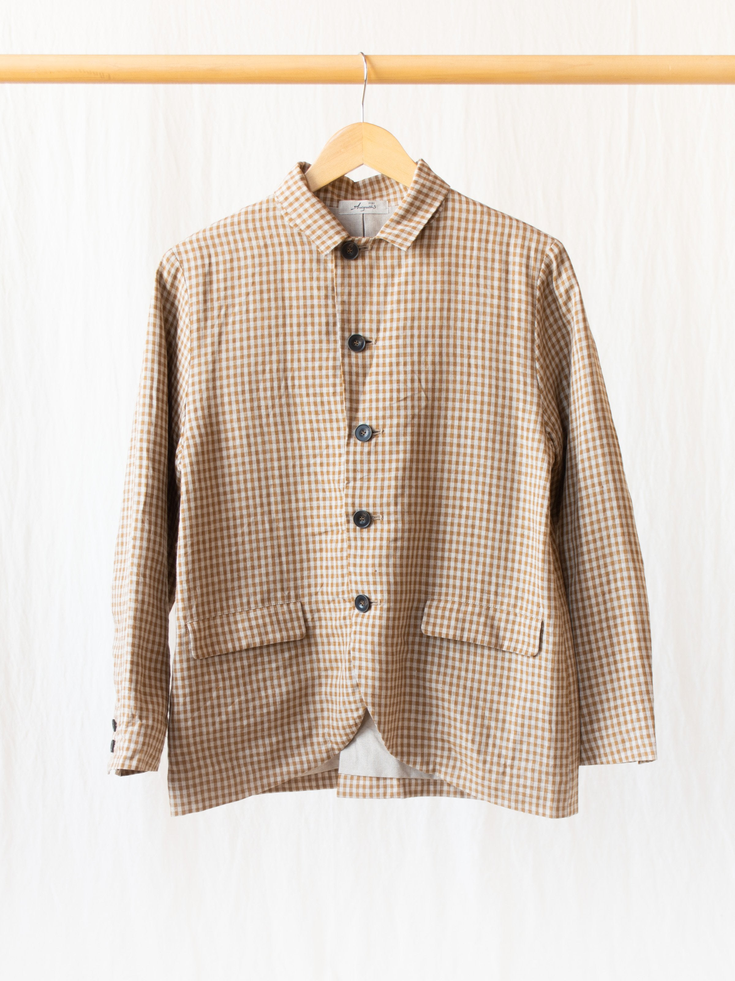 Namu Shop - Ichi Antiquites Linen Dungaree Jacket - Camel Gingham