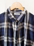 Namu Shop - Ichi Antiquites Linen Tartan Check Dress - Navy