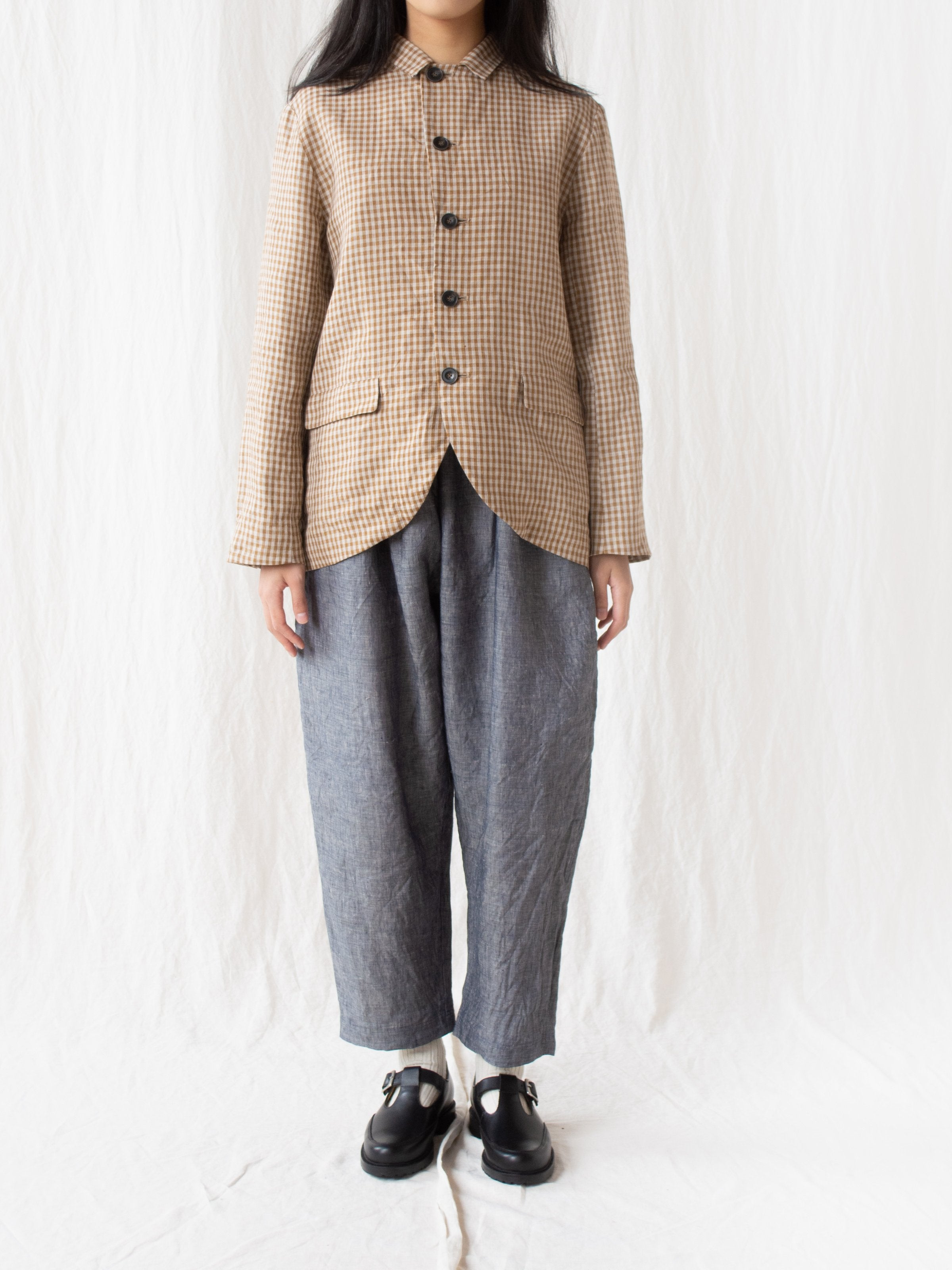 Namu Shop - Ichi Antiquites Linen Dungaree Pants - Washed Navy