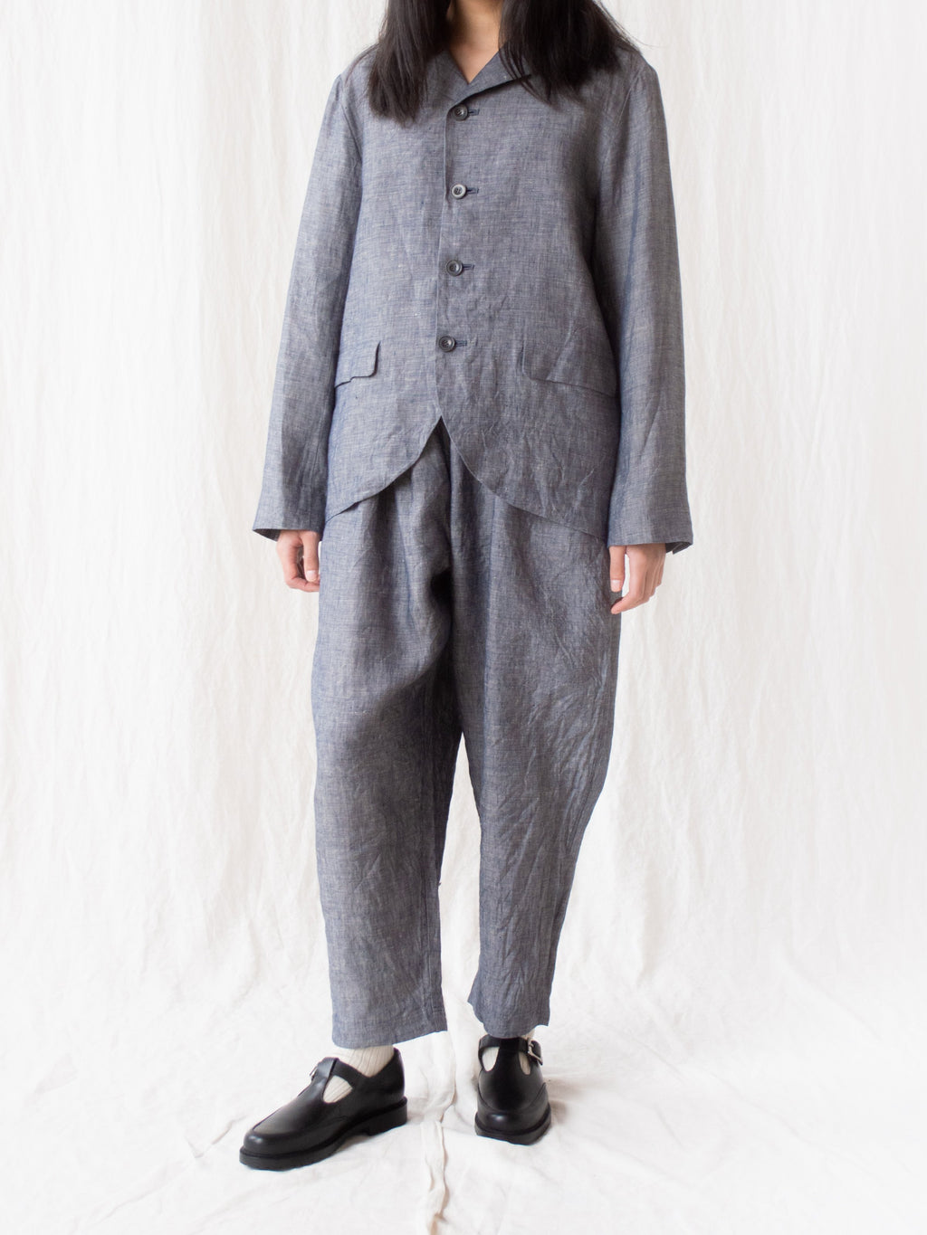 Namu Shop - Ichi Antiquites Linen Dungaree Jacket - Washed Navy