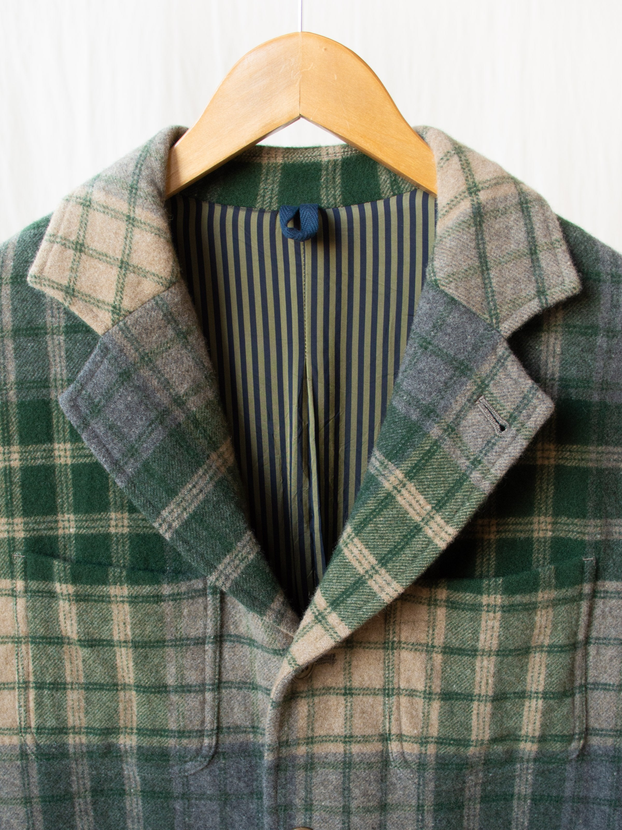 4+1 Patch Pocket Jacket - Green/Gray Beige Wool Plaid