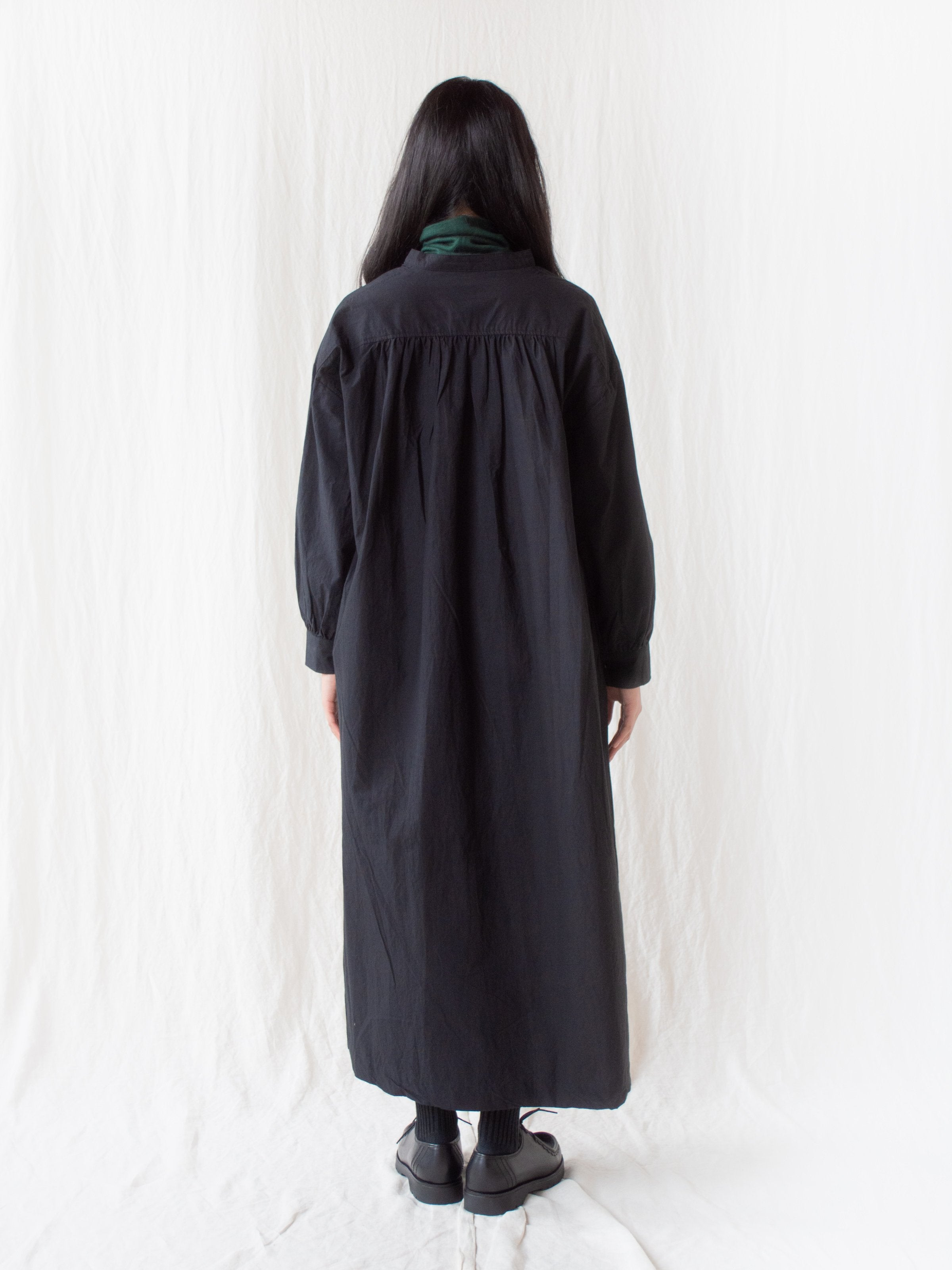 ORIHIMEDAKI Stand Collar Dress - Black