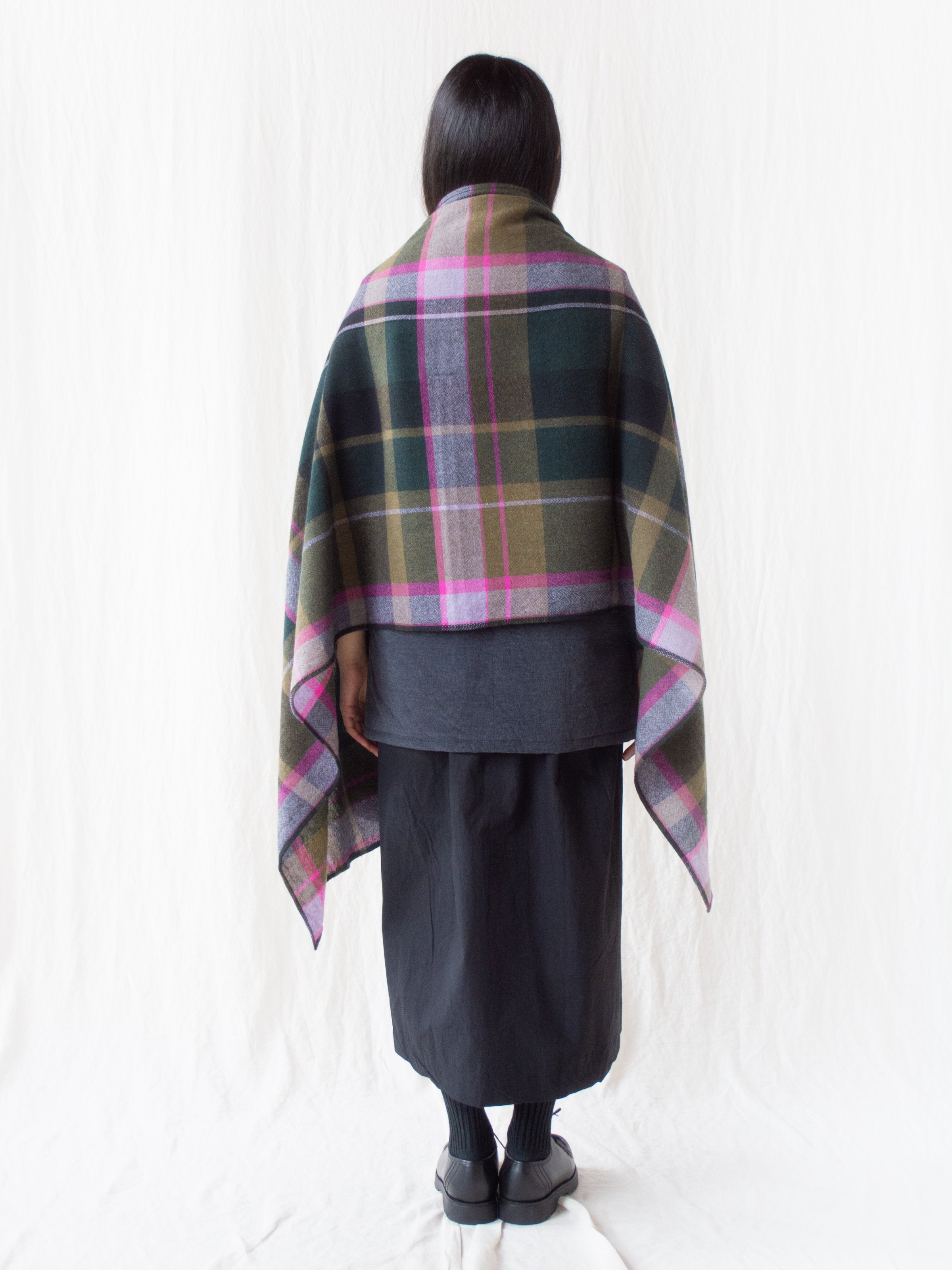 Large Pitch Plaid Wool Scarf - Green